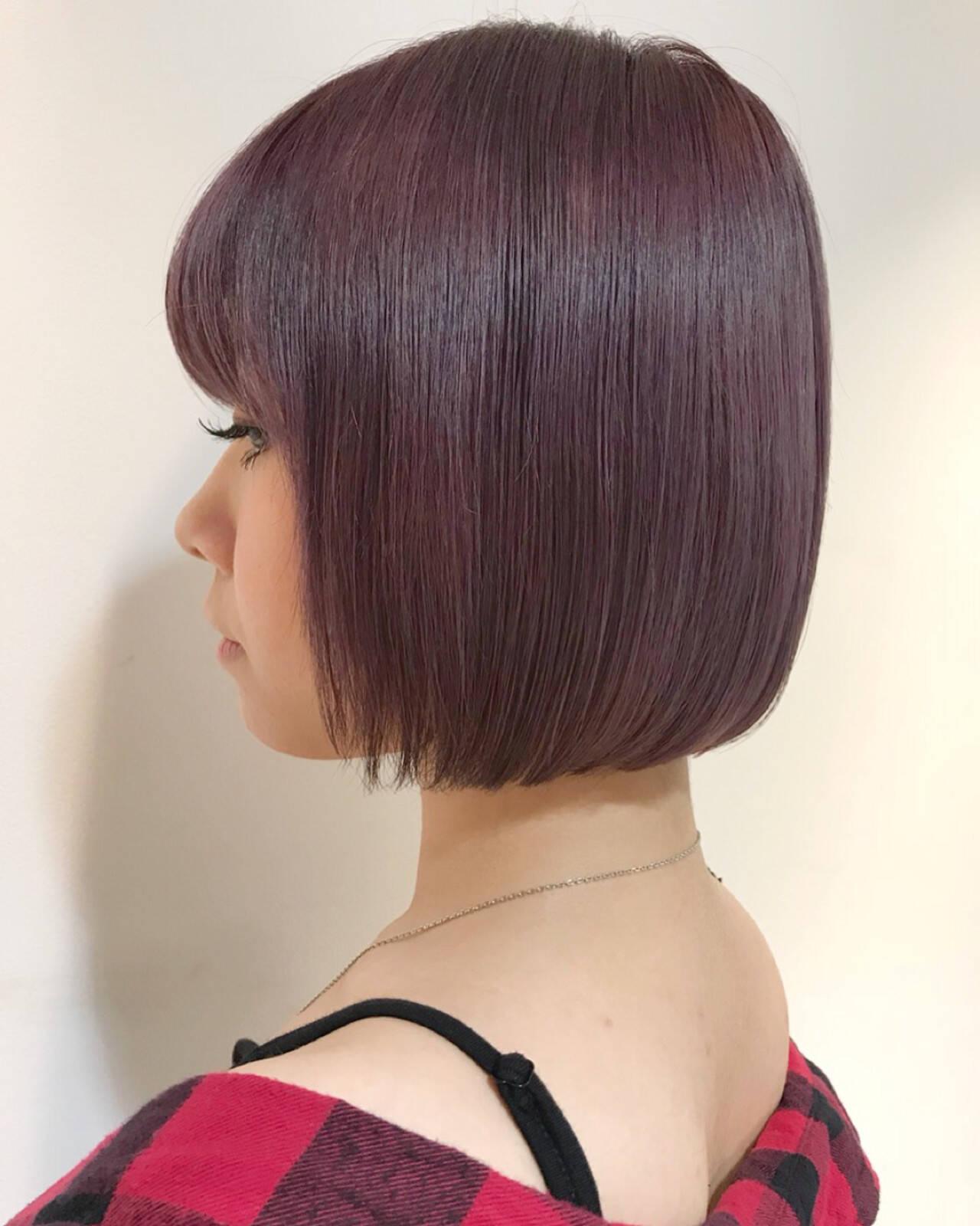 ピンク ボブ ウェットヘア ナチュラルヘアスタイルや髪型の写真・画像
