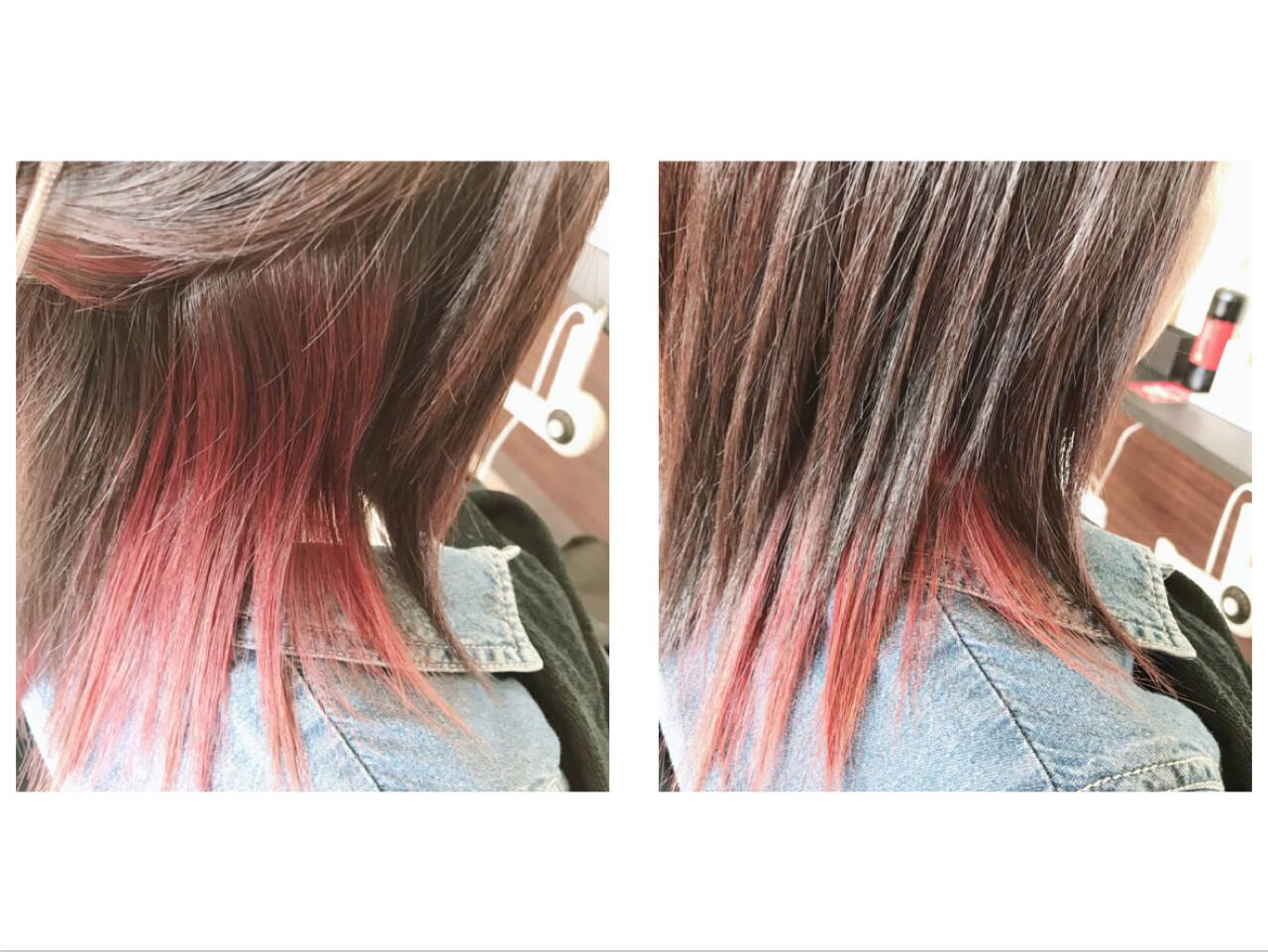 モード ロング インナーカラー レッドヘアスタイルや髪型の写真・画像