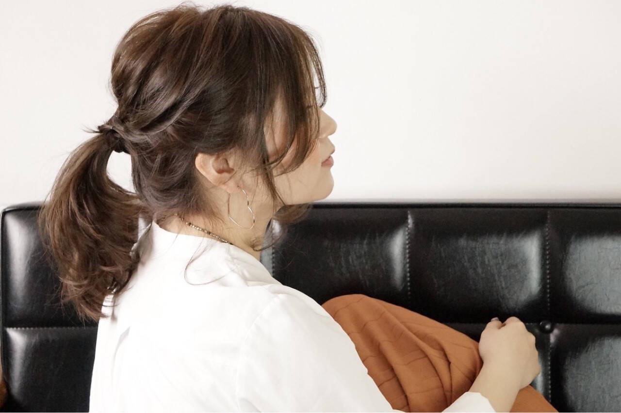 ナチュラル ゆるふわ ミディアム ポニーテールヘアスタイルや髪型の写真・画像