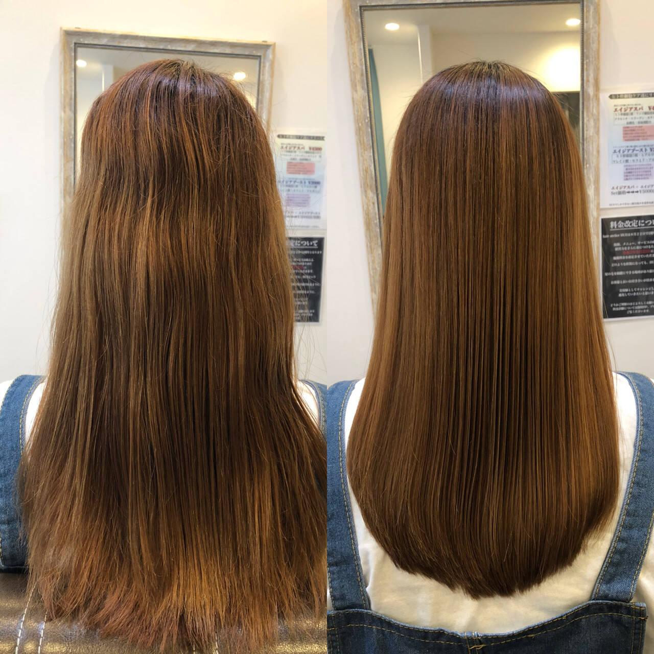 艶髪 ナチュラル 髪質改善 セミロングヘアスタイルや髪型の写真・画像