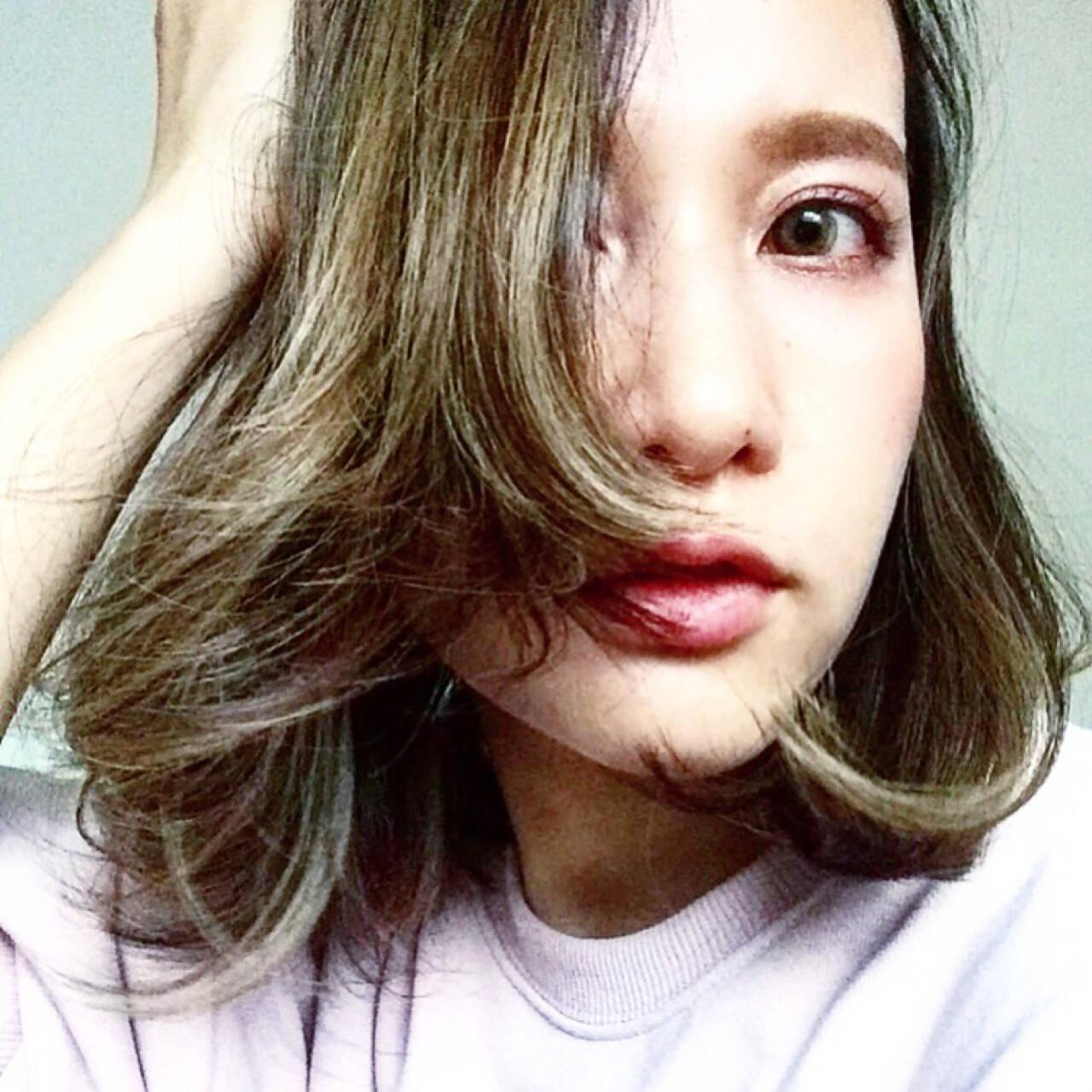 ダブルカラー アッシュグレージュ 外国人風カラー ボブヘアスタイルや髪型の写真・画像