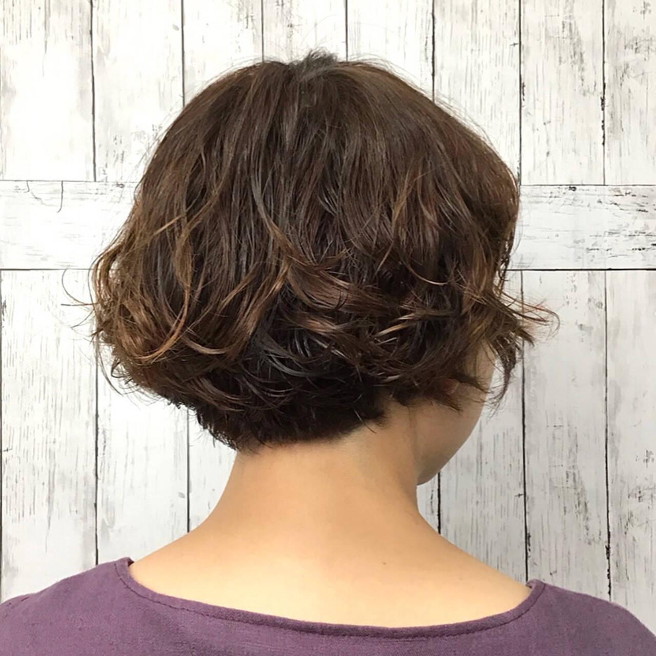 パーマ ボブ かわいい ボブヘアスタイルや髪型の写真・画像