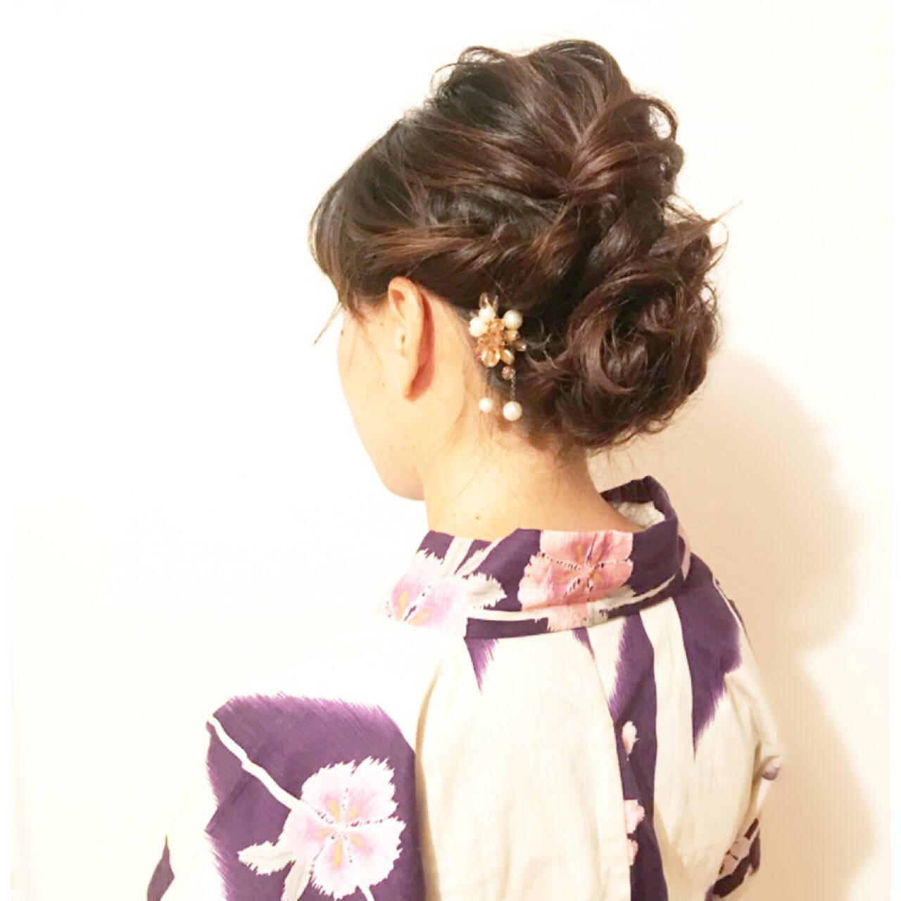 簡単ヘアアレンジ 花火大会 お祭り エレガントヘアスタイルや髪型の写真・画像