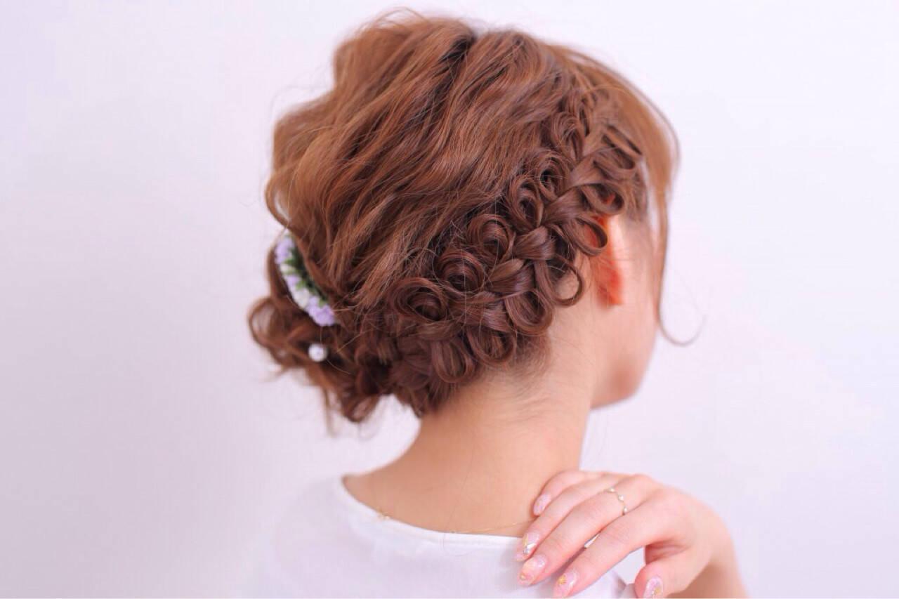 ハーフアップ 簡単ヘアアレンジ アッシュ パーマヘアスタイルや髪型の写真・画像