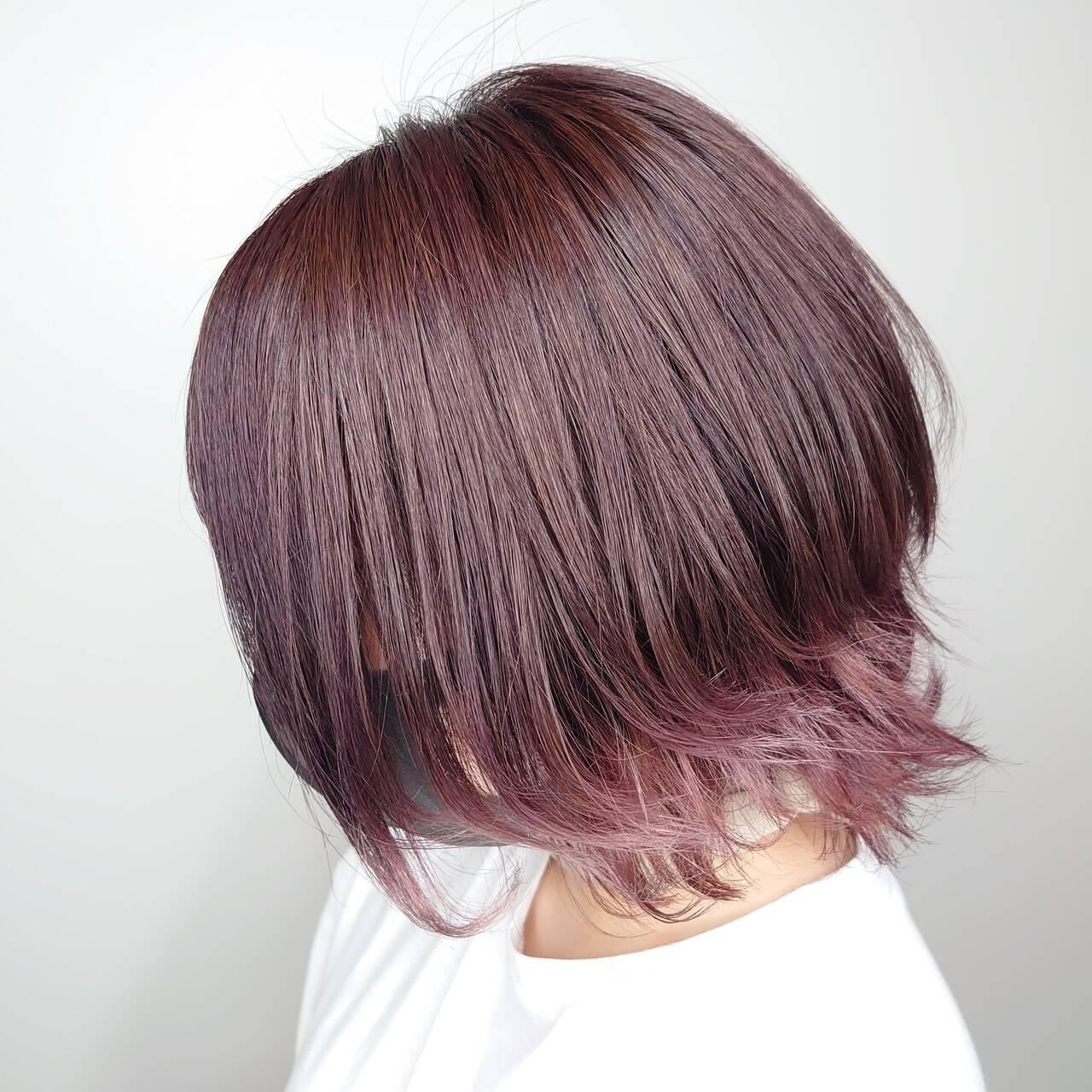 フェミニン 裾カラー 可愛い ボブヘアスタイルや髪型の写真・画像