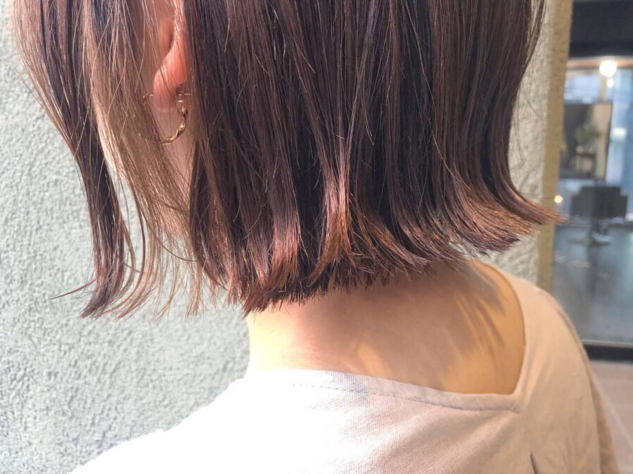 ナチュラル ショートヘア ボブ イルミナカラーヘアスタイルや髪型の写真・画像