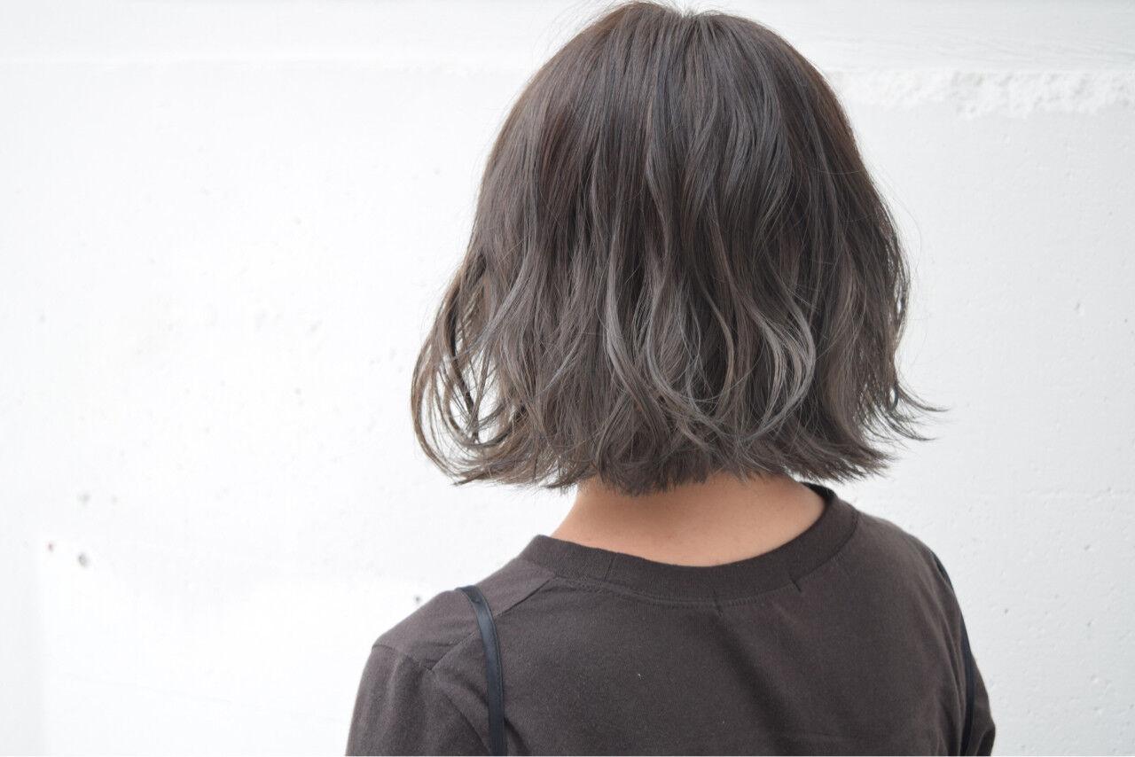 外国人風 ボブ 暗髪 バレイヤージュヘアスタイルや髪型の写真・画像
