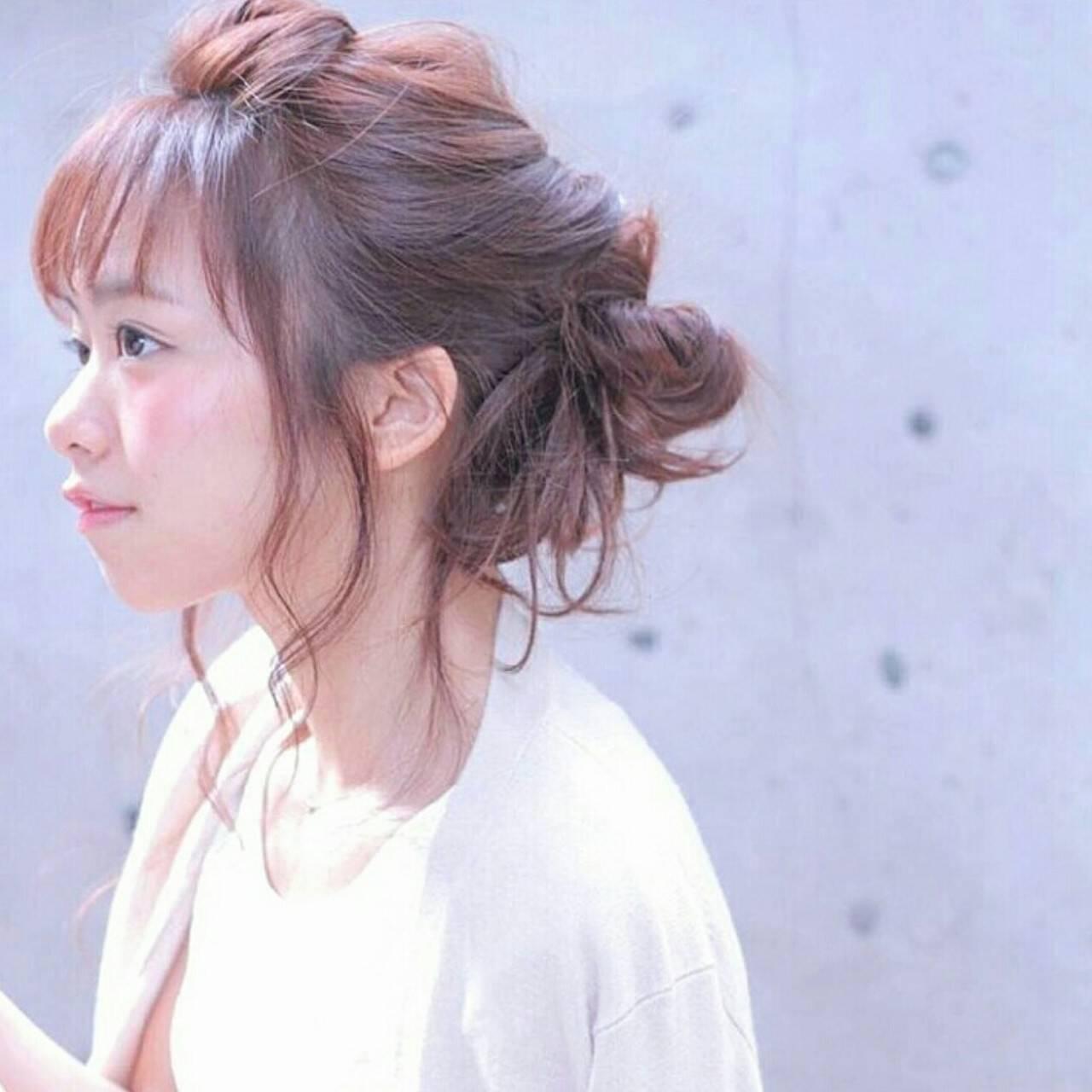 ショート ヘアアレンジ フェミニン ゆるふわヘアスタイルや髪型の写真・画像