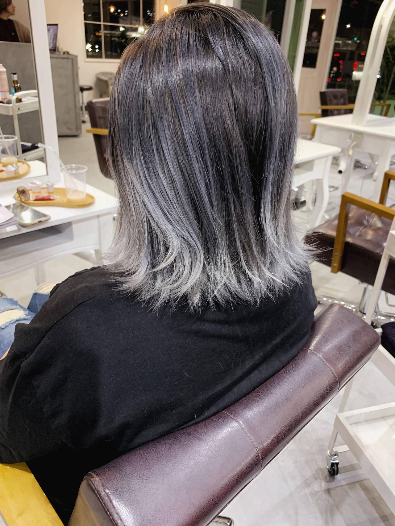 ナチュラル コントラストハイライト バレイヤージュ ハイライトヘアスタイルや髪型の写真・画像
