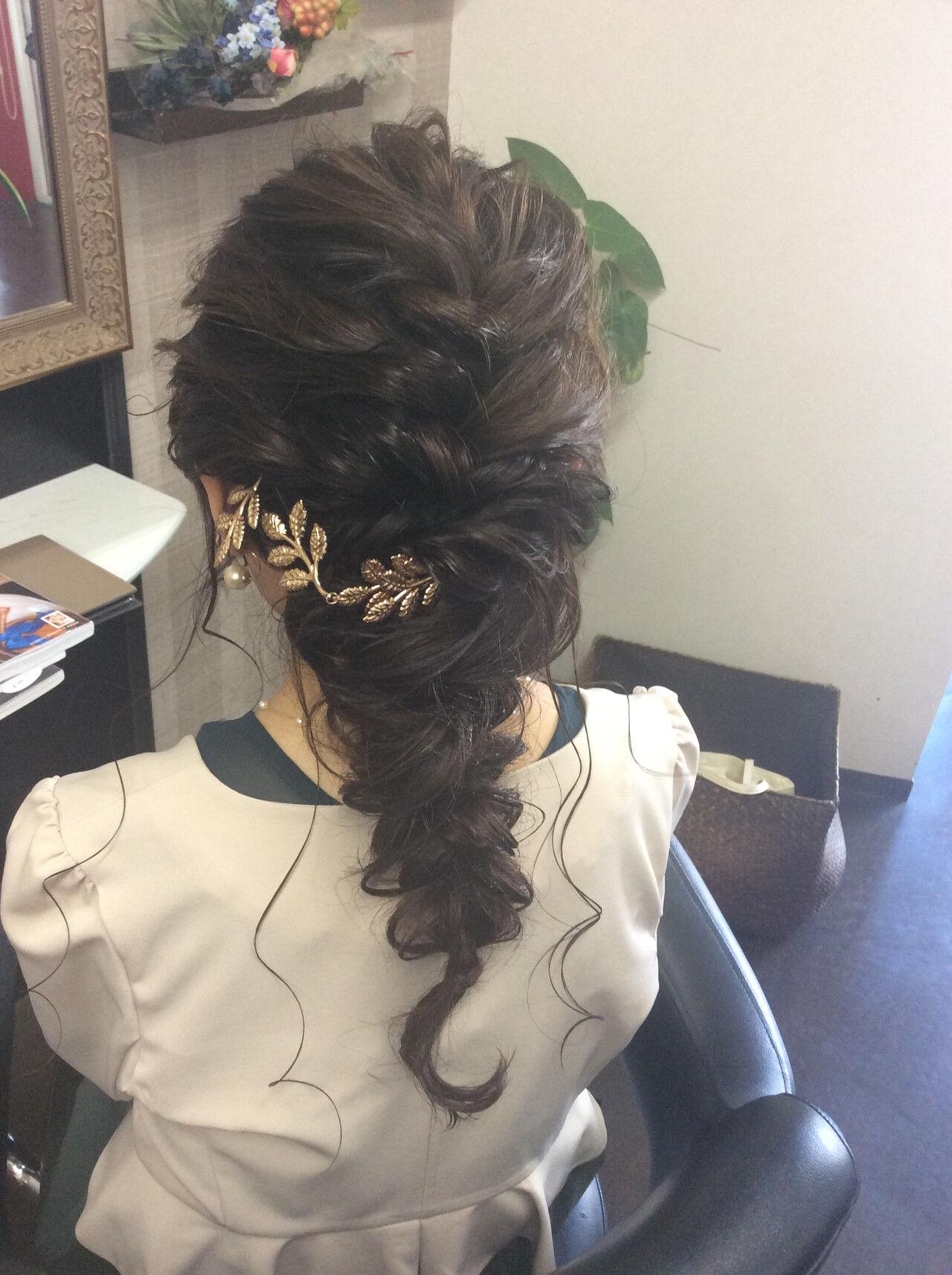 結婚式 セミロング ヘアアレンジ ナチュラルヘアスタイルや髪型の写真・画像