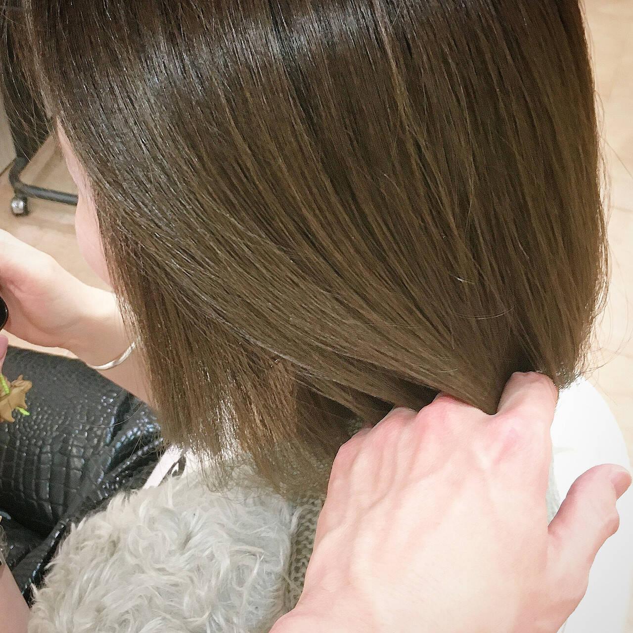 オリーブ ボブ カーキ 春ヘアヘアスタイルや髪型の写真・画像