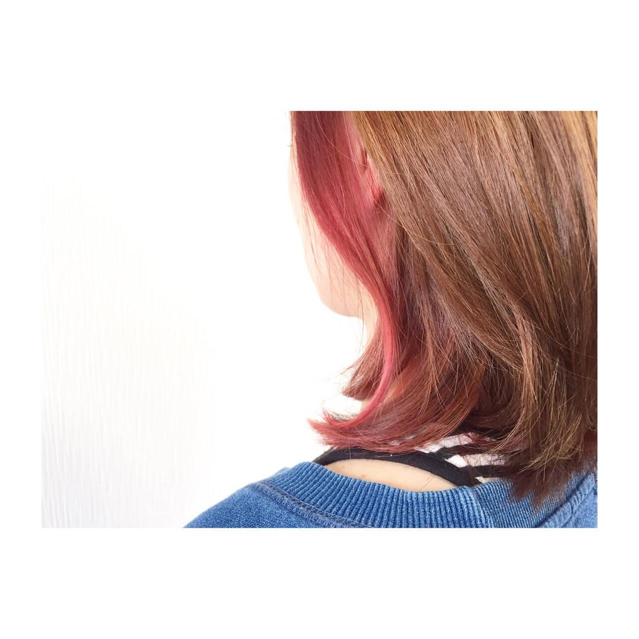ボブ 大人かわいい 色気 ベリーピンクヘアスタイルや髪型の写真・画像