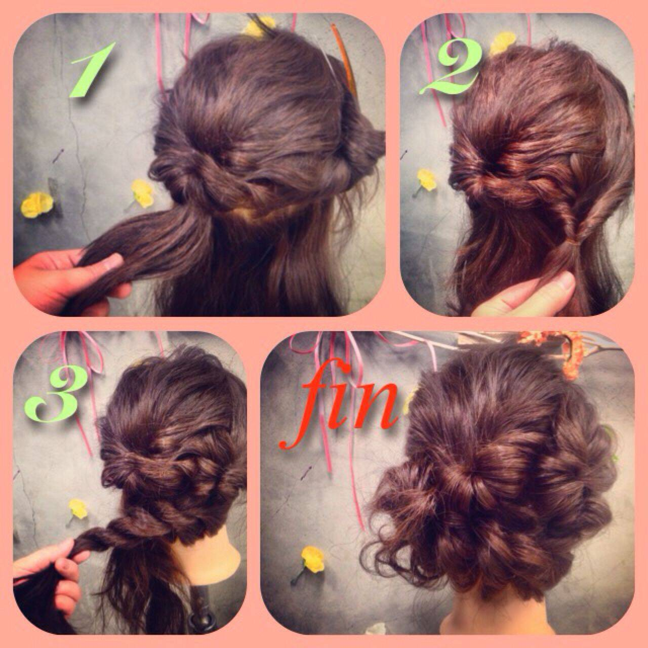 アップスタイル ヘアアレンジ くるりんぱ 簡単ヘアアレンジヘアスタイルや髪型の写真・画像