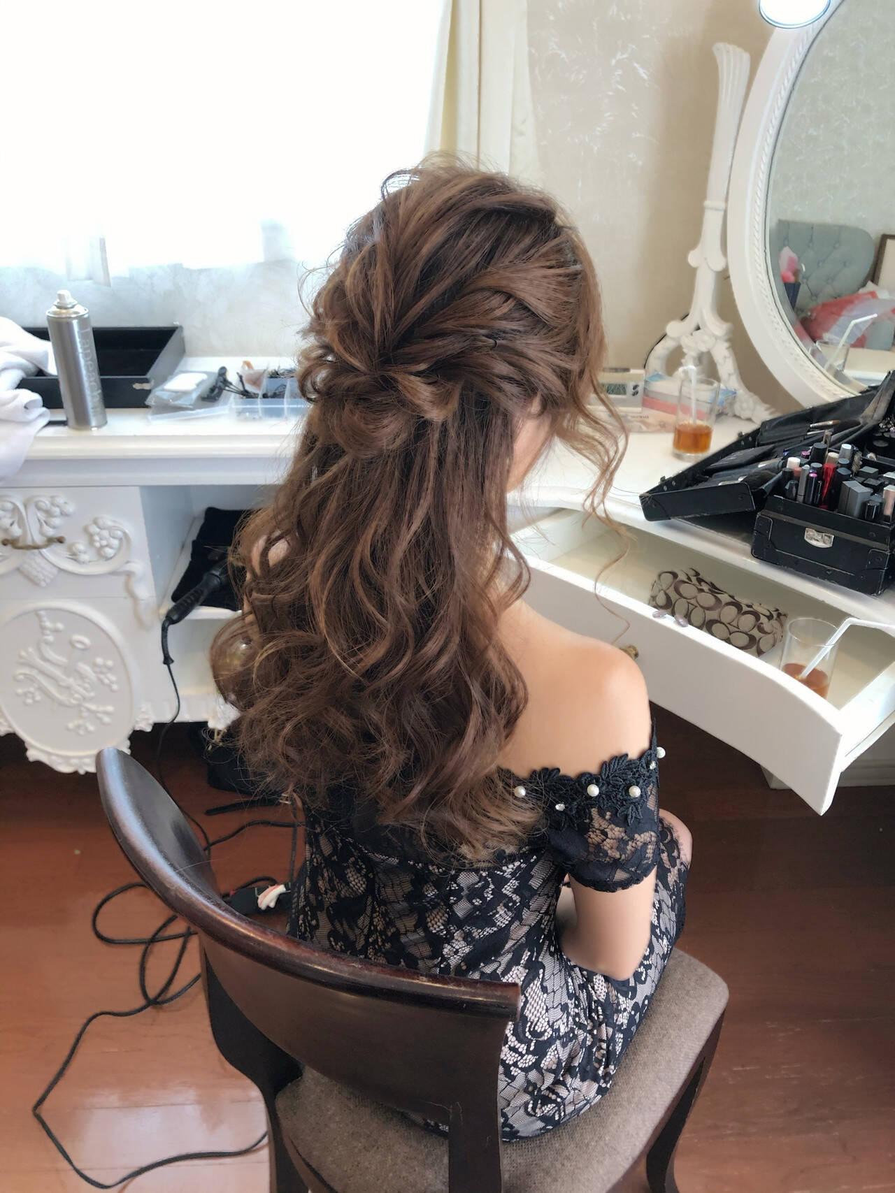 二次会ヘア フェミニン ハーフアップ 結婚式ヘアスタイルや髪型の写真・画像