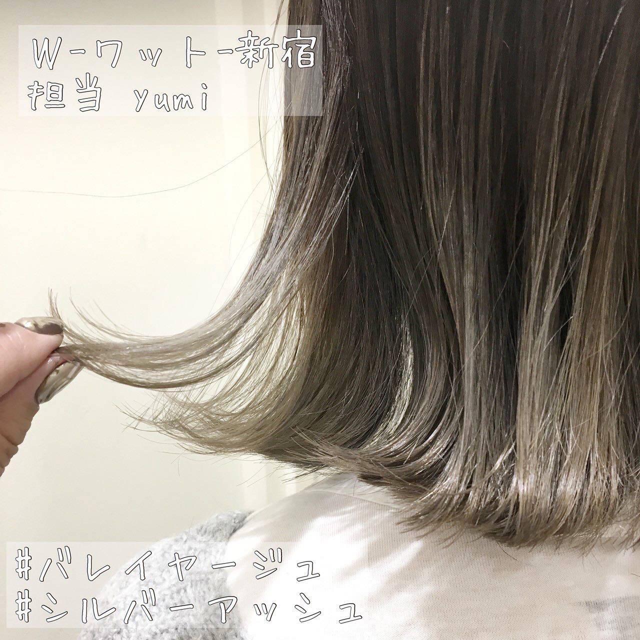 シルバーアッシュ モード ハイライト 切りっぱなしボブヘアスタイルや髪型の写真・画像