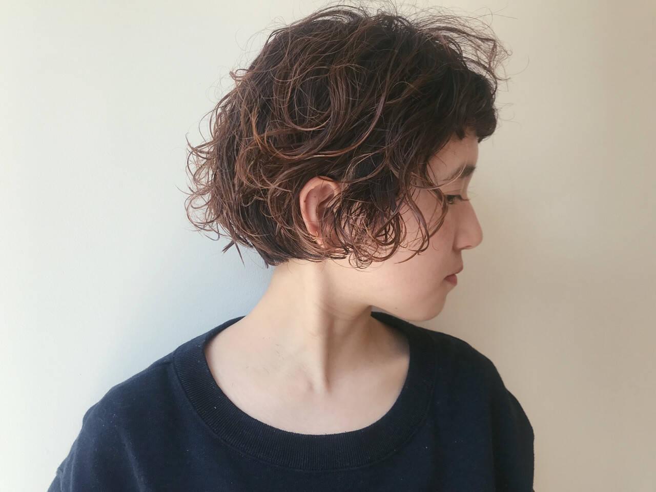 ナチュラル ショート パーマ 前下がりヘアスタイルや髪型の写真・画像