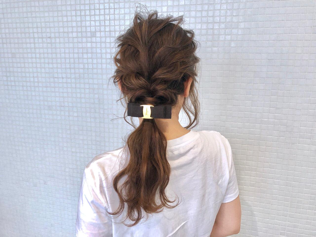 ローポニー お出かけヘア ロング ポニーテールヘアスタイルや髪型の写真・画像
