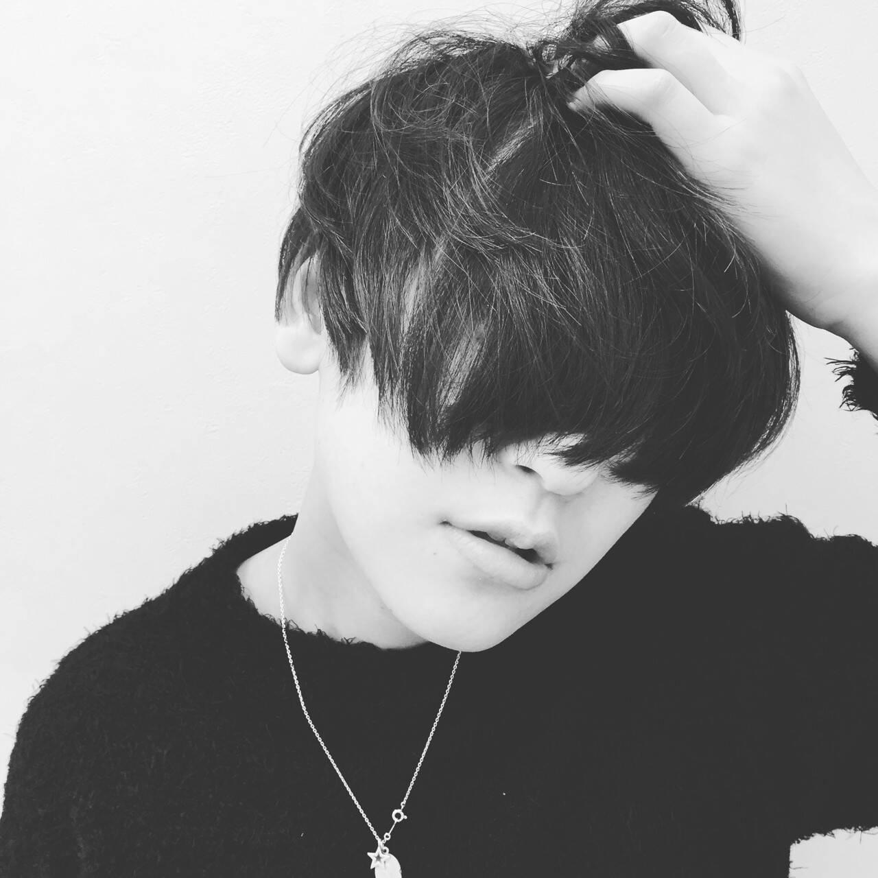 暗髪 前髪なし ショート 黒髪ヘアスタイルや髪型の写真・画像