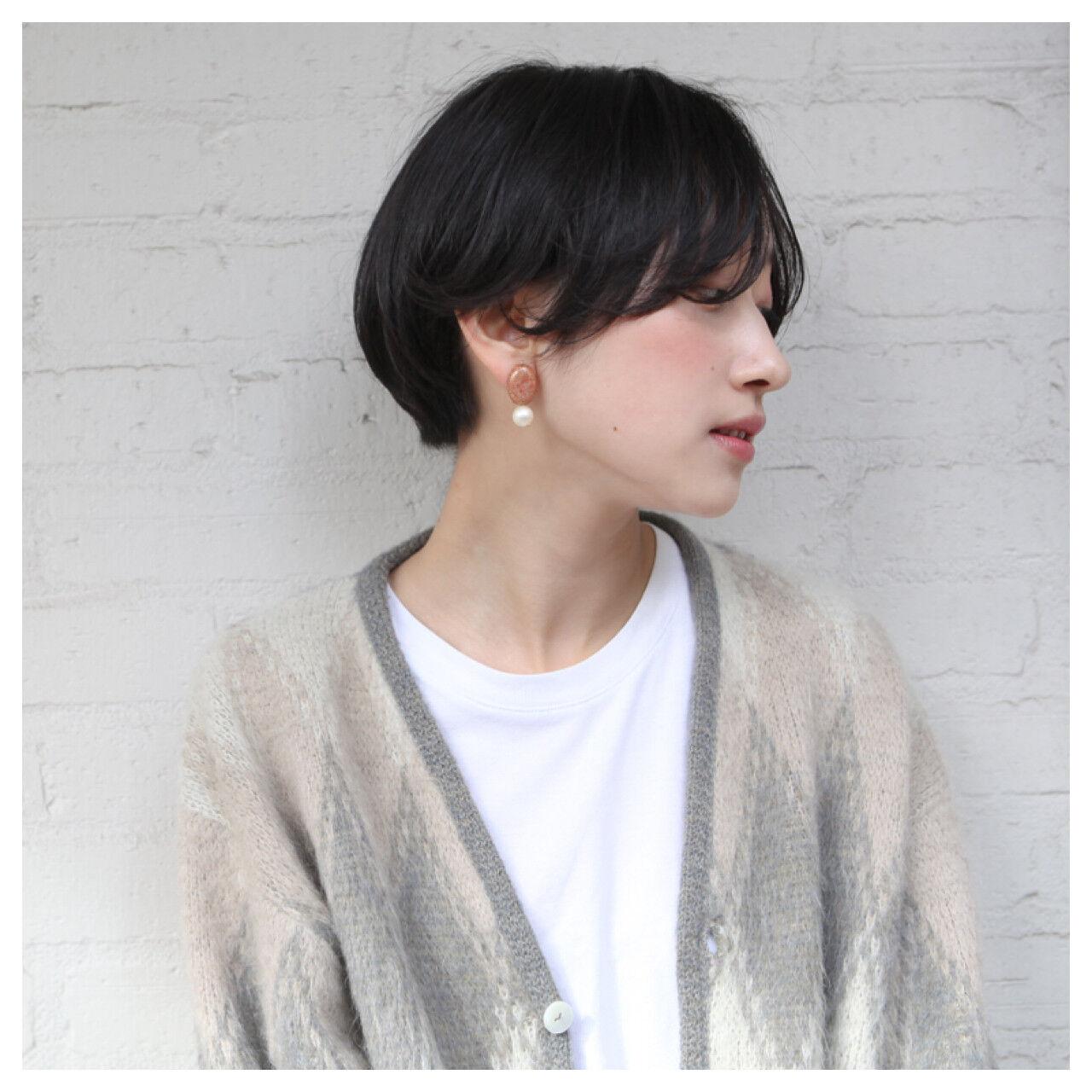 似合わせ デート ショートボブ リラックスヘアスタイルや髪型の写真・画像