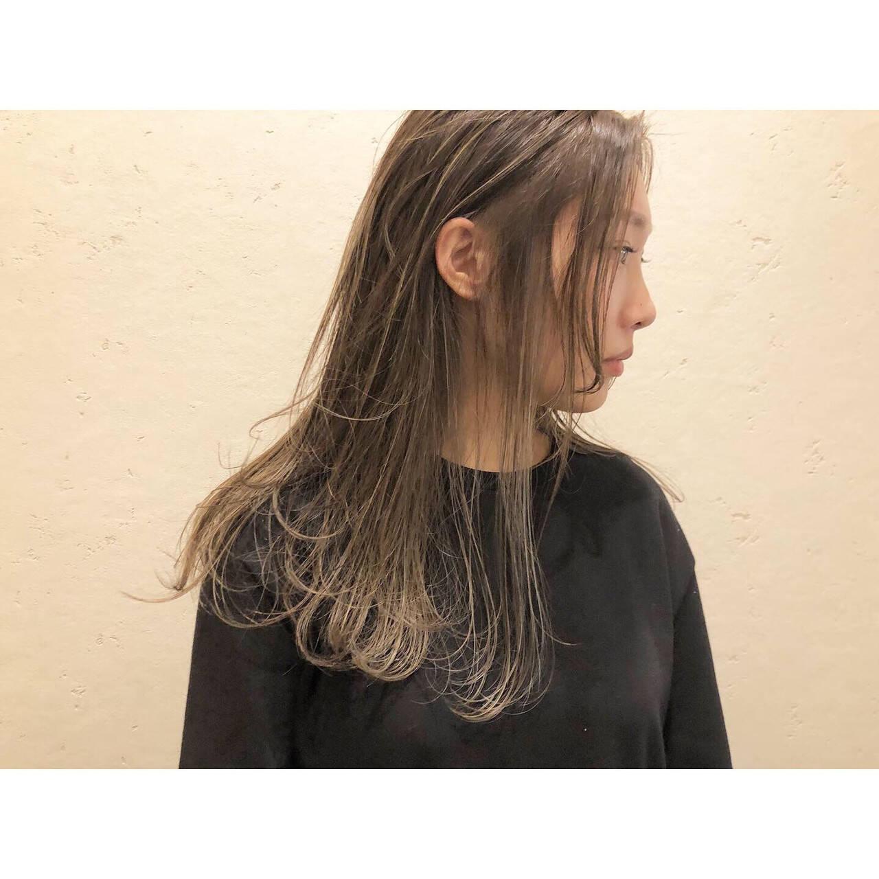 ハイライト ロング 花嫁 コントラストハイライトヘアスタイルや髪型の写真・画像