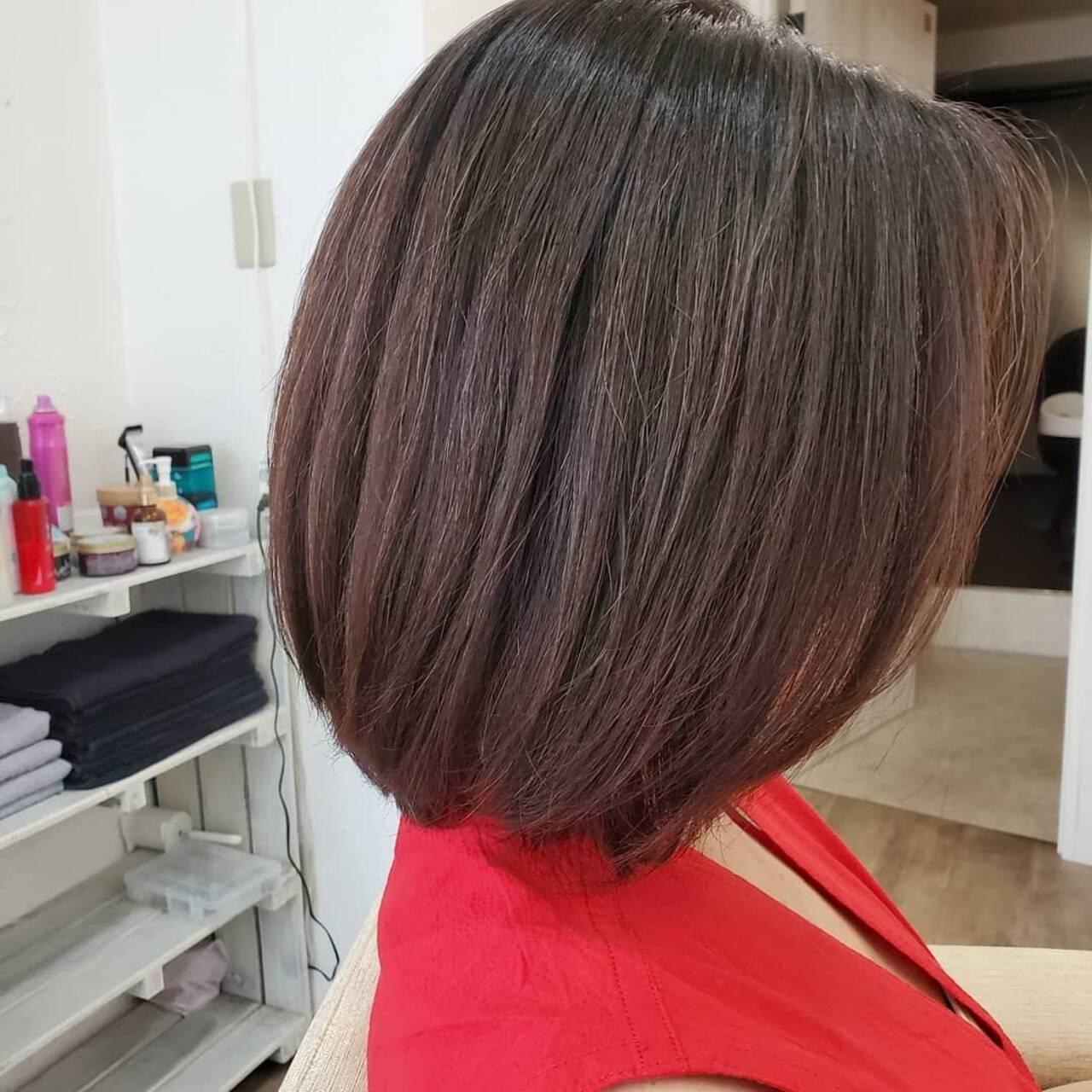 縮毛矯正ストカール 艶髪 縮毛矯正 ボブヘアスタイルや髪型の写真・画像