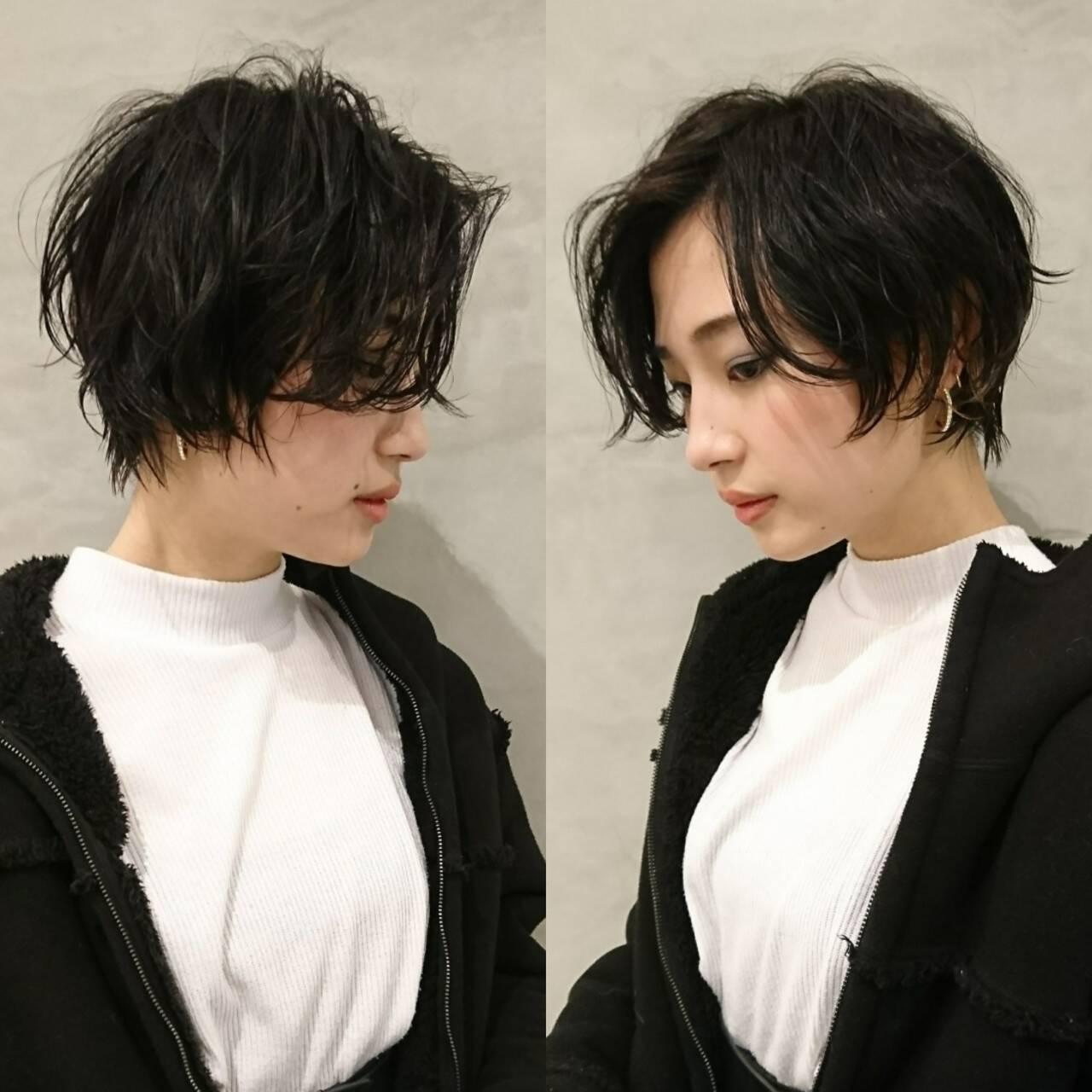 黒髪 ショート モード 似合わせヘアスタイルや髪型の写真・画像