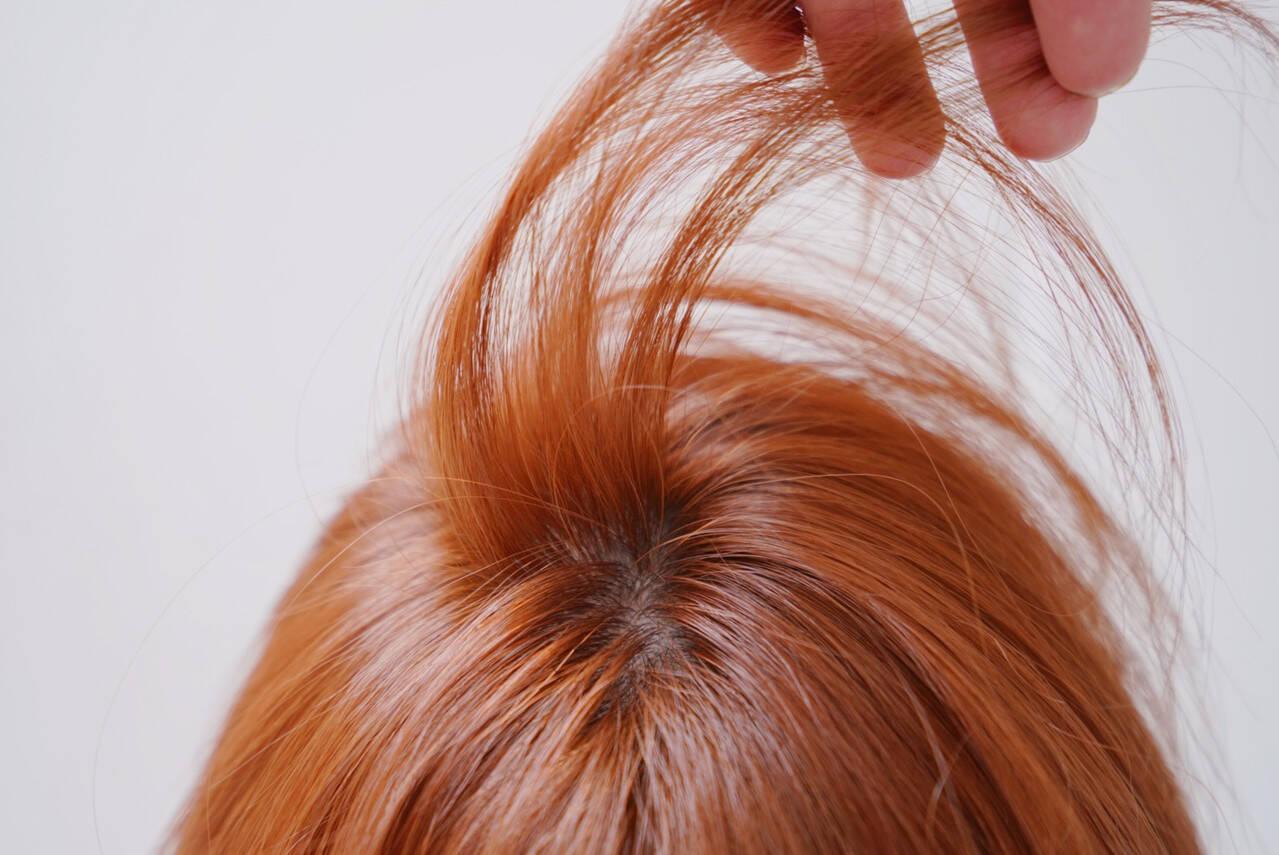 オレンジブラウン オレンジベージュ オレンジカラー アプリコットオレンジヘアスタイルや髪型の写真・画像