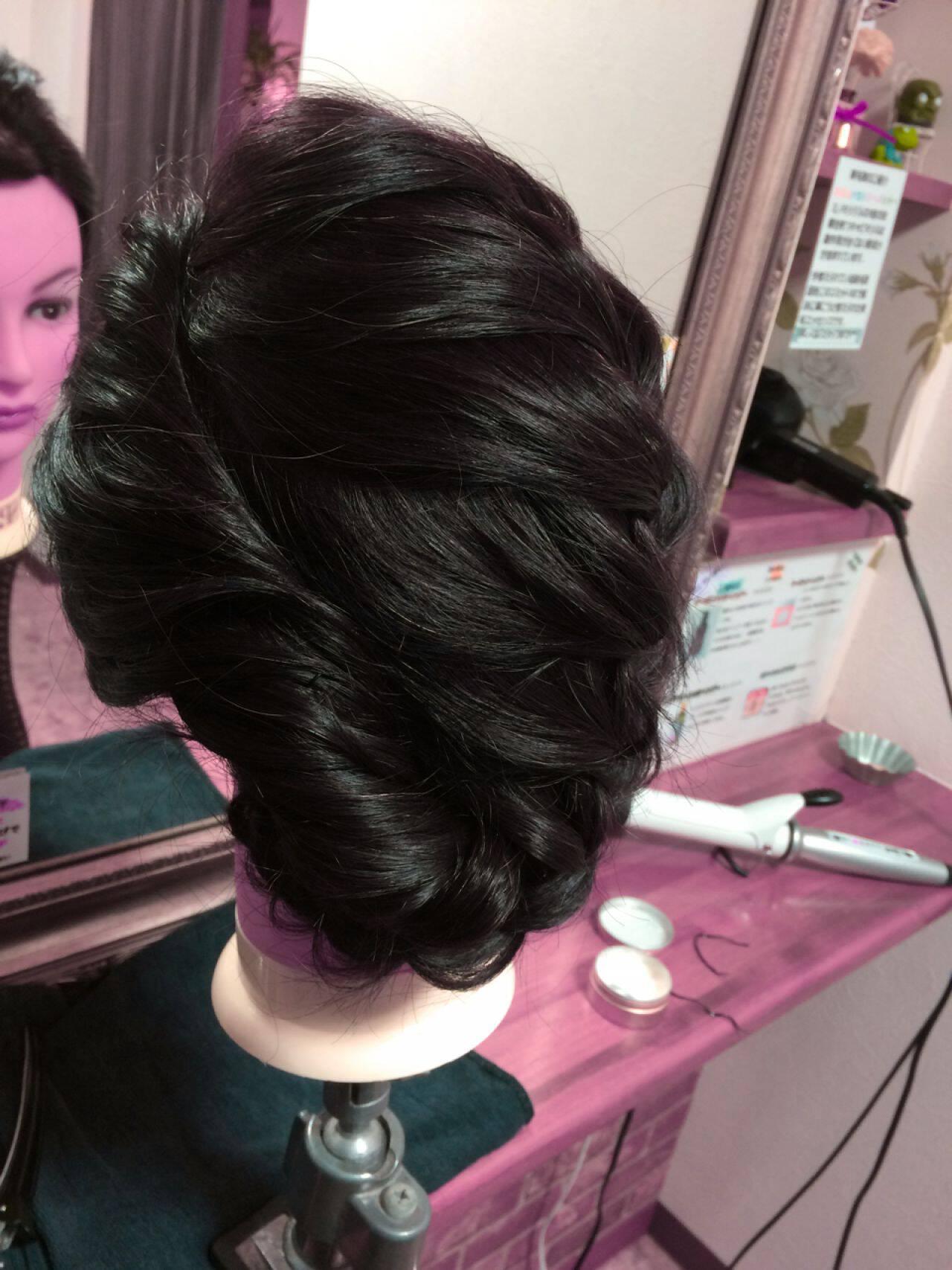 成人式 大人かわいい まとめ髪 編み込みヘアスタイルや髪型の写真・画像