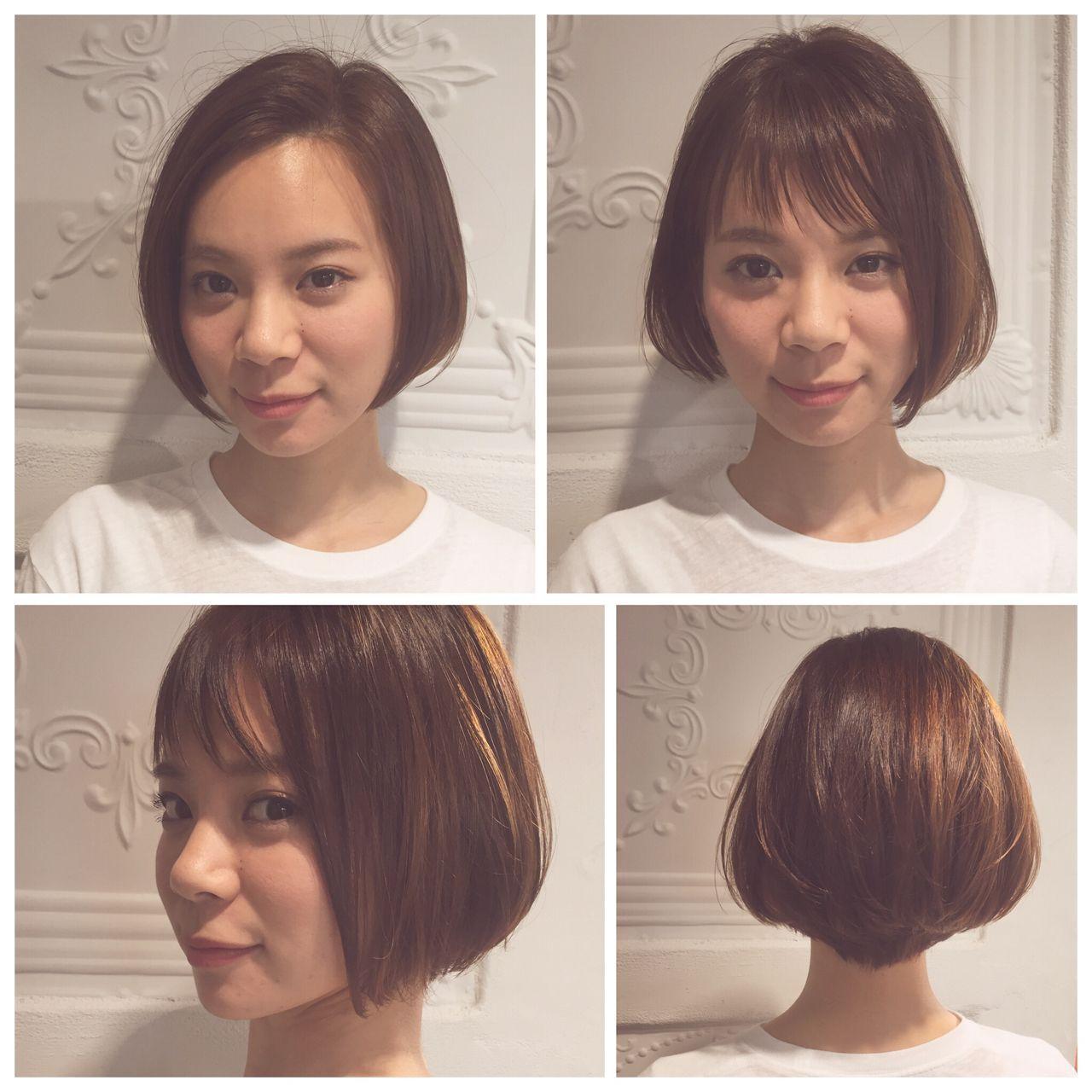 ストリート ボブ ダブルバングヘアスタイルや髪型の写真・画像