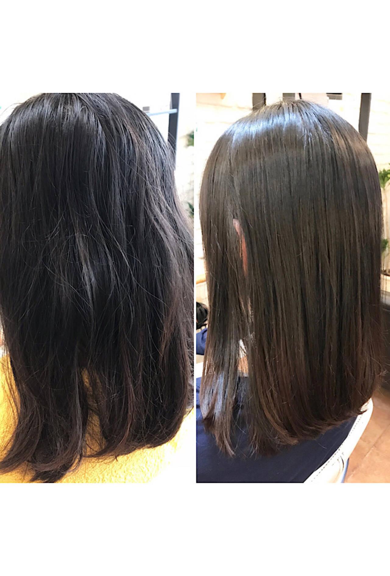 ナチュラル ロブ 縮毛矯正ストカール ロングヘアスタイルや髪型の写真・画像