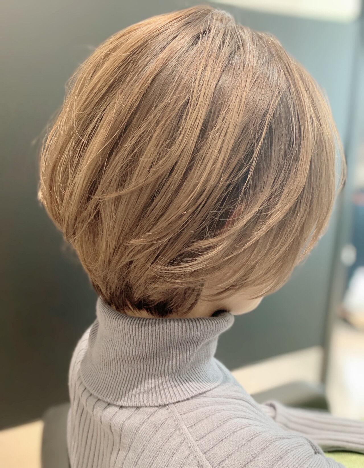 ショートボブ 丸みショート ナチュラル ボブヘアスタイルや髪型の写真・画像