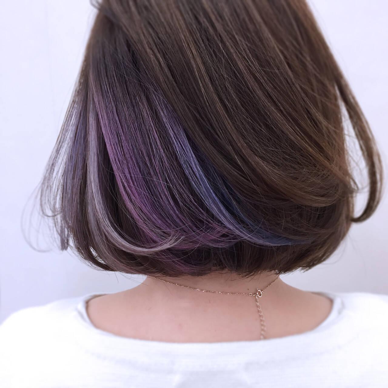 パープル モード アッシュ ニュアンスヘアスタイルや髪型の写真・画像
