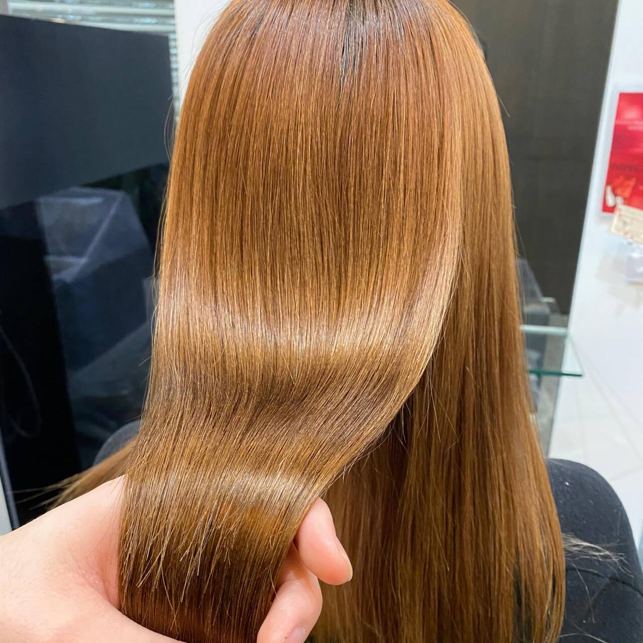 髪質改善カラー ストレート ナチュラル 髪質改善トリートメントヘアスタイルや髪型の写真・画像