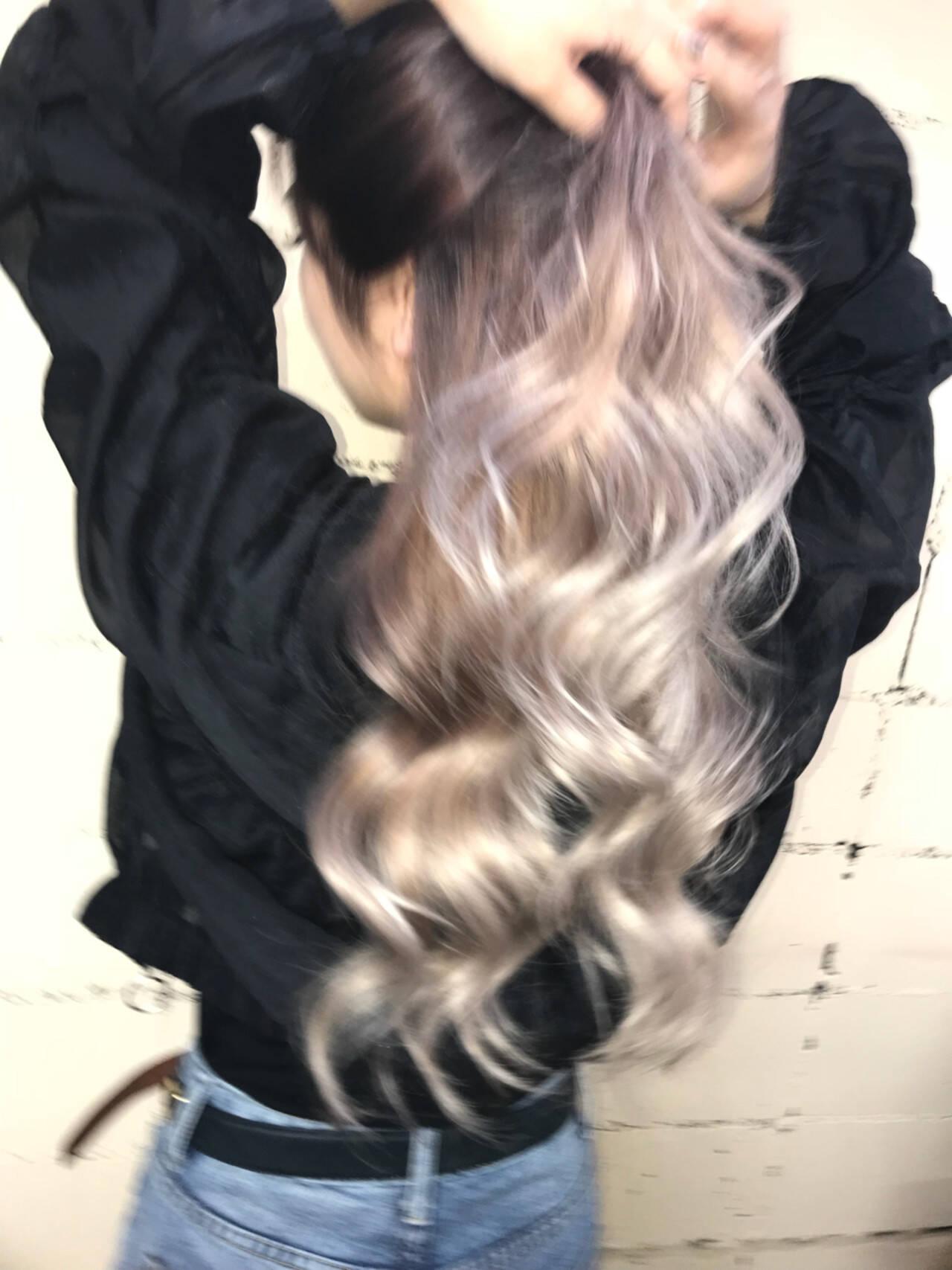 モード ロング ハイトーン 外国人風ヘアスタイルや髪型の写真・画像