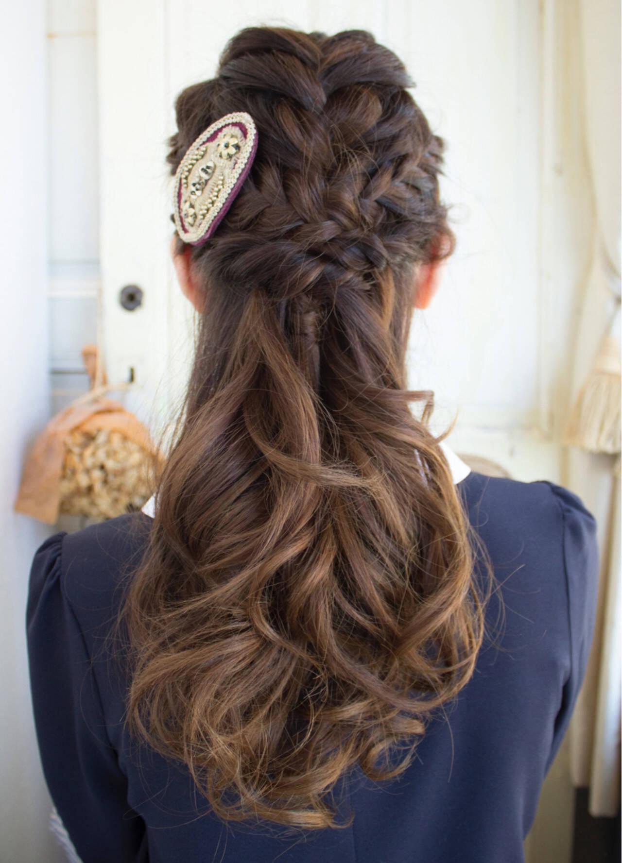 ヘアアレンジ 編み込み ハーフアップ ロングヘアスタイルや髪型の写真・画像