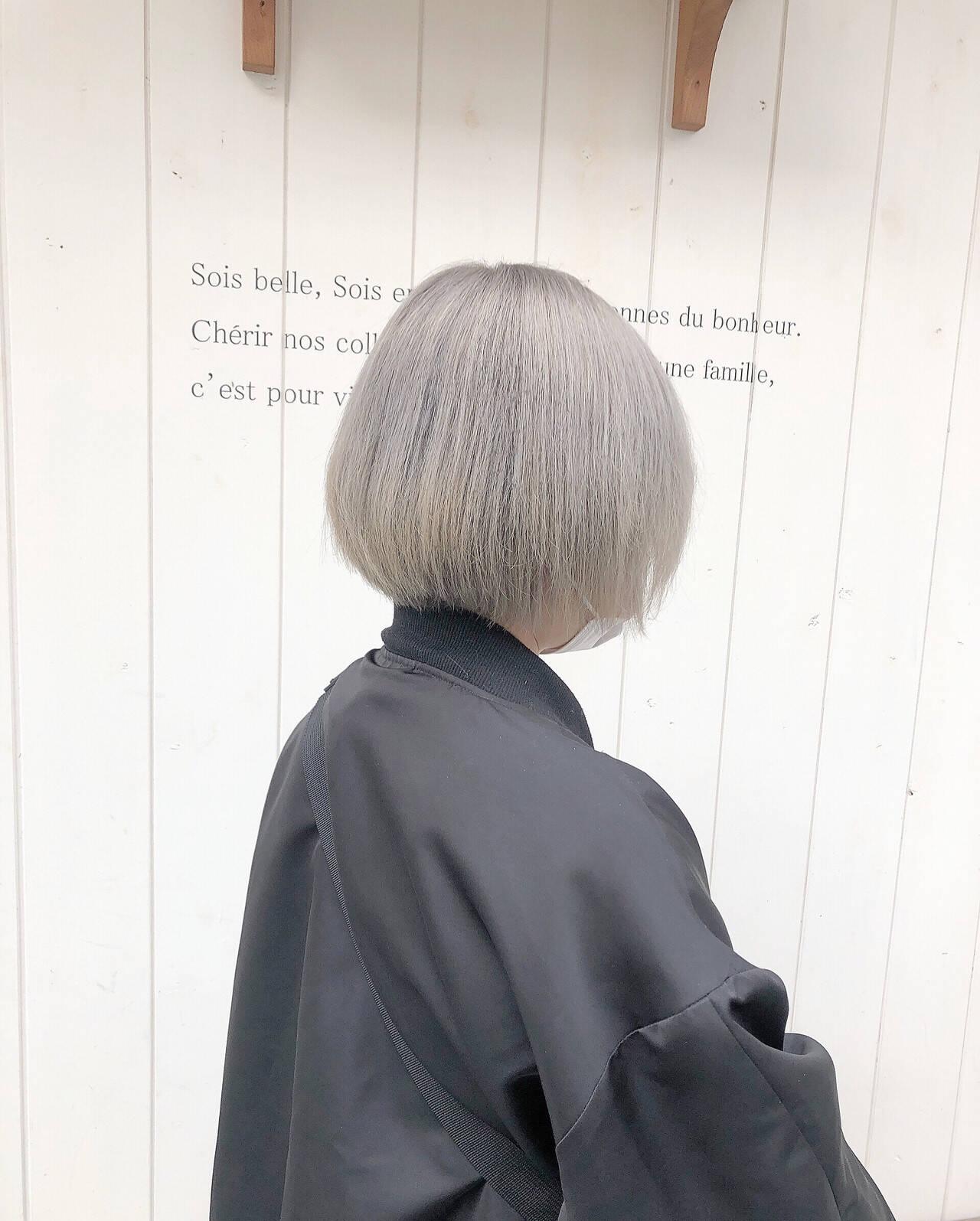 ベリーショート インナーカラー ミニボブ ボブヘアスタイルや髪型の写真・画像