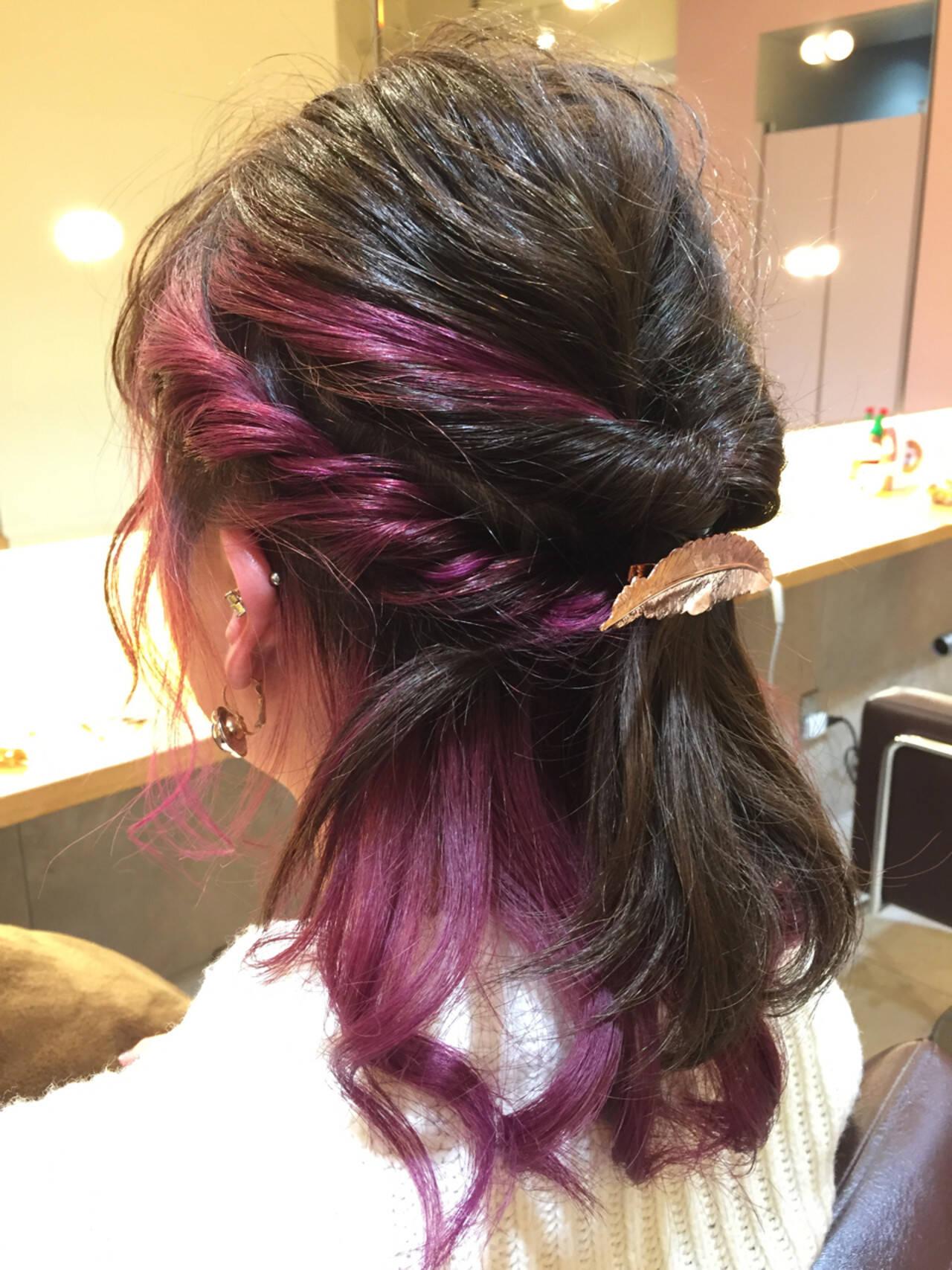 成人式 ミディアム くるりんぱ ヘアアレンジヘアスタイルや髪型の写真・画像