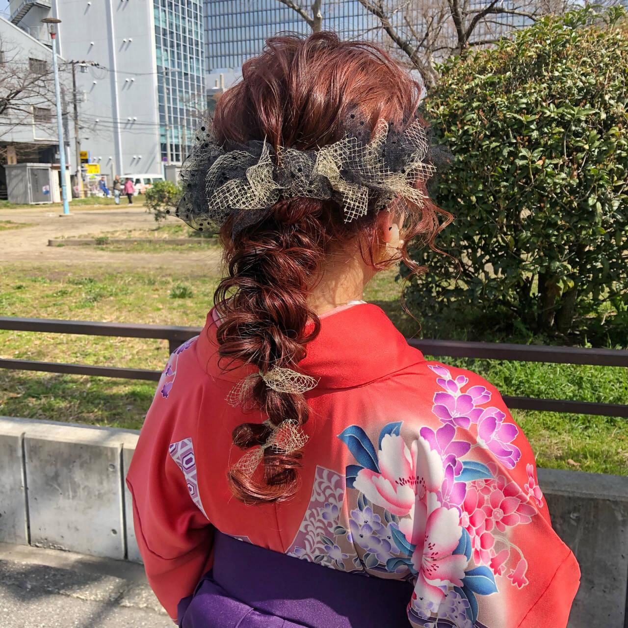 ベリーピンク ガーリー 簡単ヘアアレンジ ヘアアレンジヘアスタイルや髪型の写真・画像