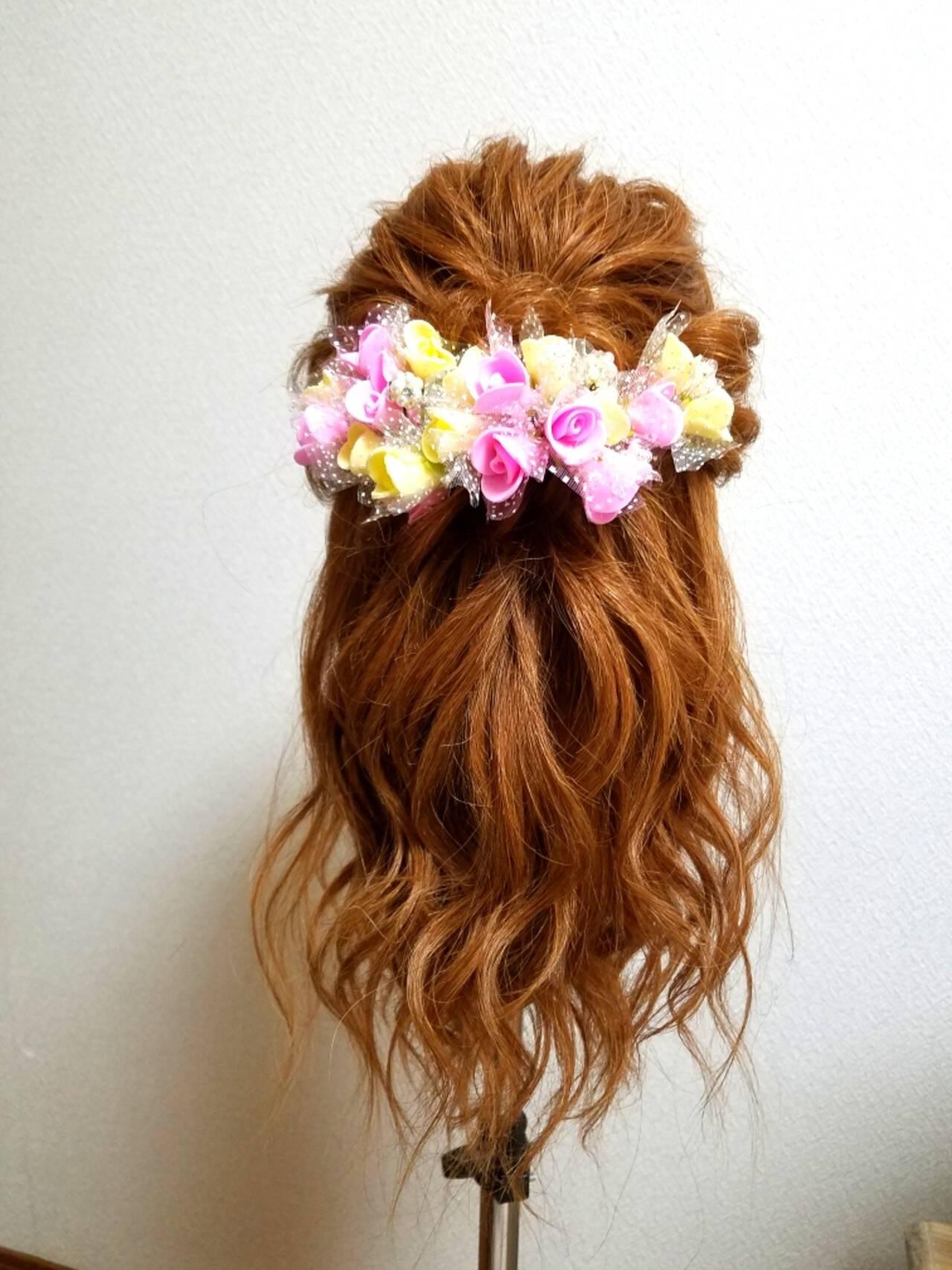 フェミニン ブライダル ゆるふわ セミロングヘアスタイルや髪型の写真・画像