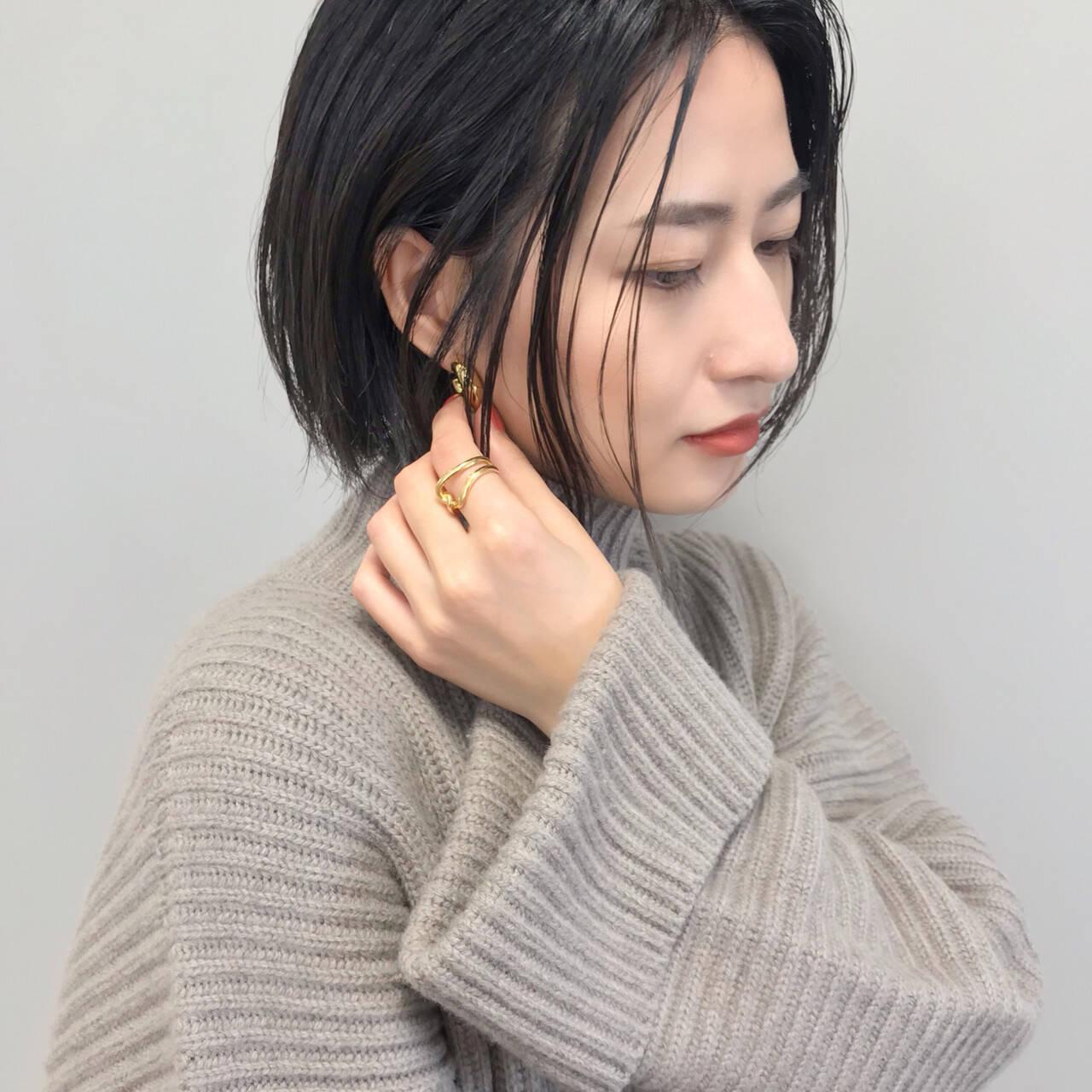 大人女子 福岡市 ボブ ヘアカラーヘアスタイルや髪型の写真・画像