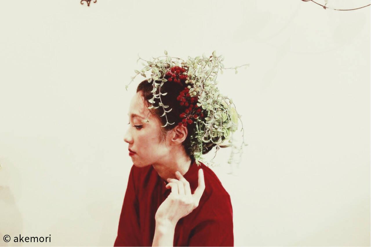 ミディアム ヘアアレンジ 夏 ブライダルヘアスタイルや髪型の写真・画像