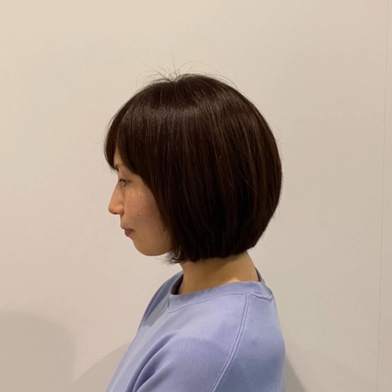 ボブ ミニボブ ナチュラル ショートボブヘアスタイルや髪型の写真・画像