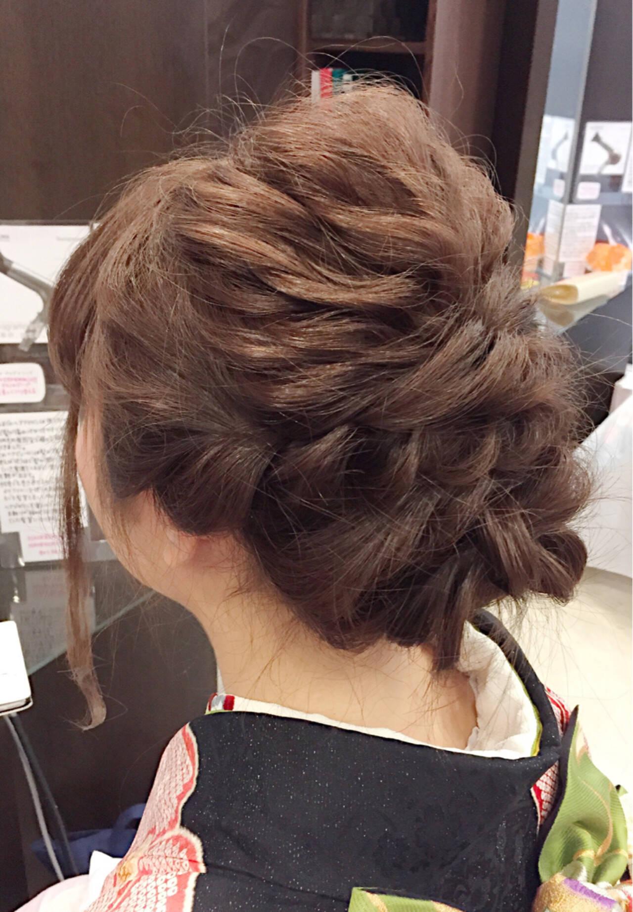 編み込み セミロング 謝恩会 ヘアアレンジヘアスタイルや髪型の写真・画像