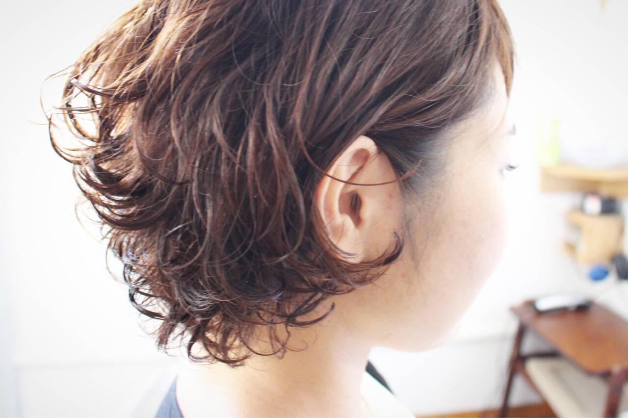 ショートボブ ゆるふわ ボブ パーマヘアスタイルや髪型の写真・画像