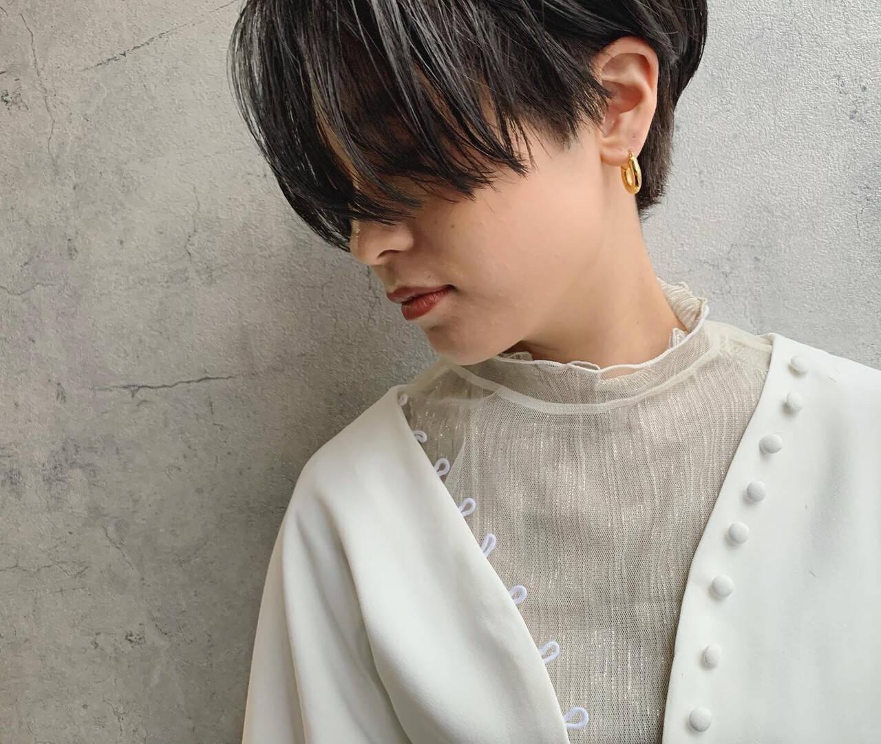 ハンサムショート ショートヘア 暗髪 ショートヘアスタイルや髪型の写真・画像