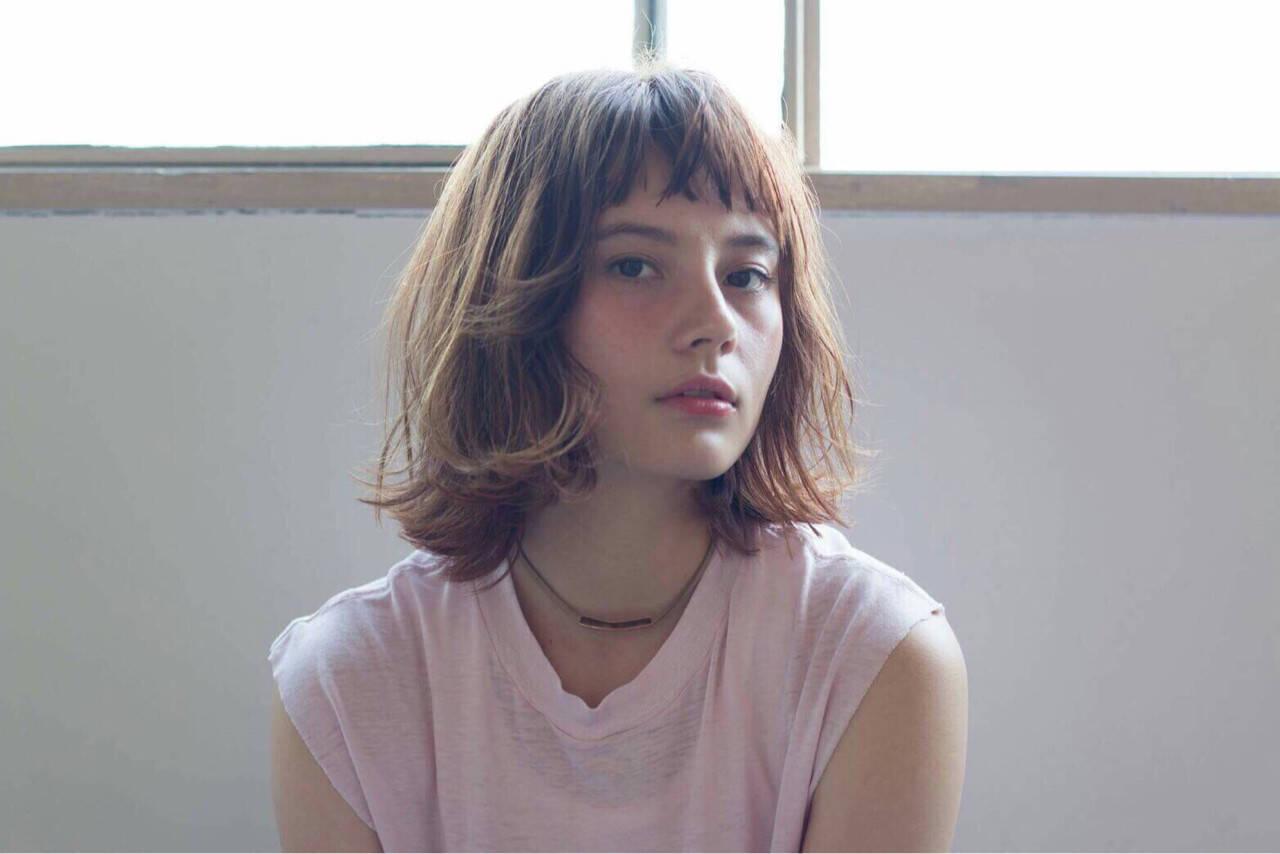 前髪あり 外国人風 ヘアアレンジ ボブヘアスタイルや髪型の写真・画像