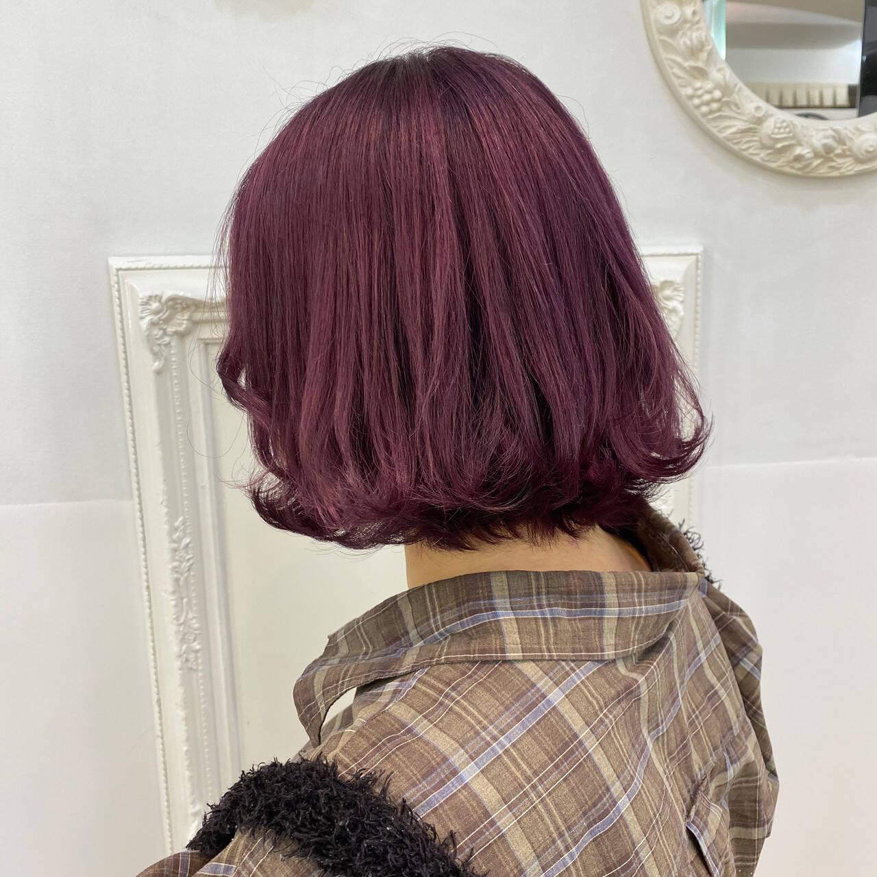 ラベンダーピンク ピンクラベンダー ピンク ハイトーンヘアスタイルや髪型の写真・画像