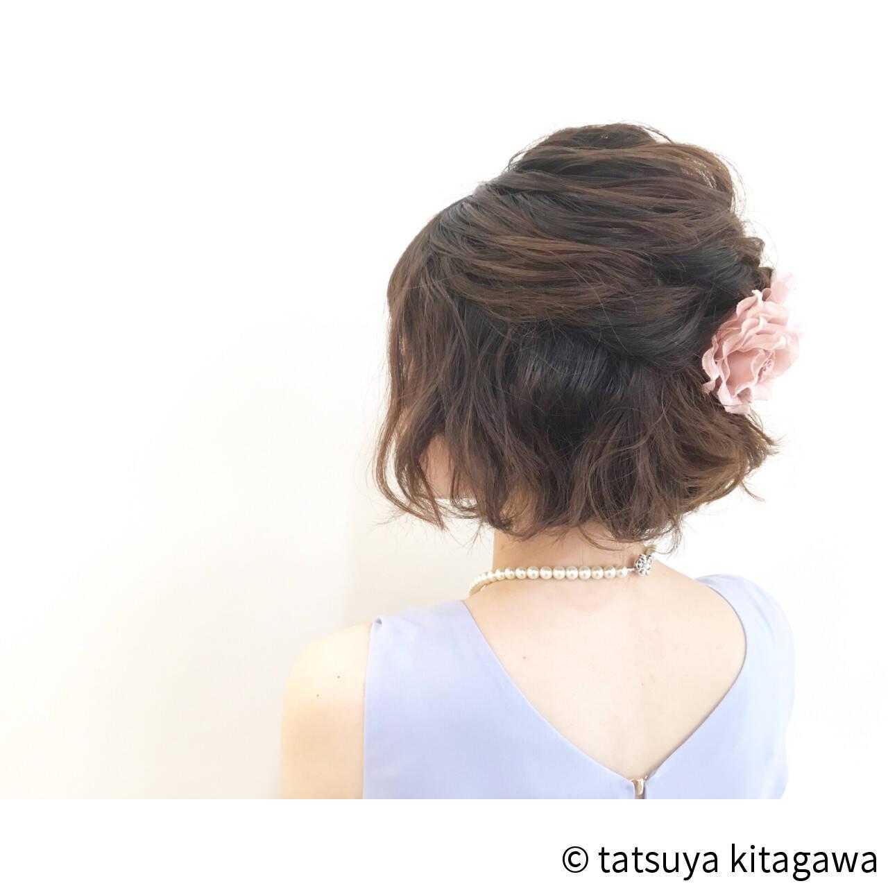 ハーフアップ 二次会 外国人風 ゆるふわヘアスタイルや髪型の写真・画像