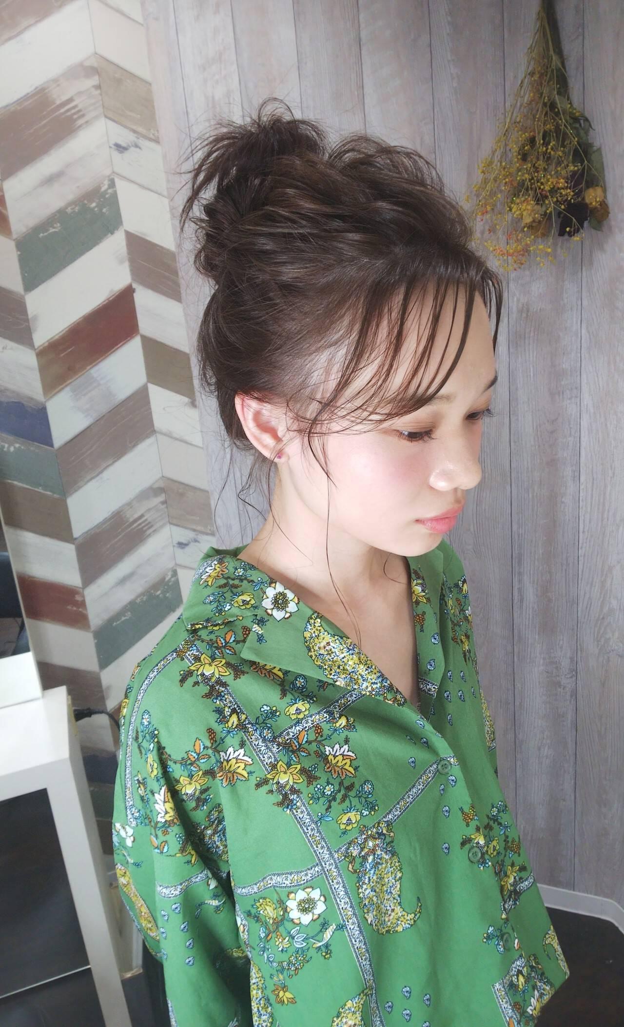 ふわふわ お祭り ガーリー お団子ヘアスタイルや髪型の写真・画像