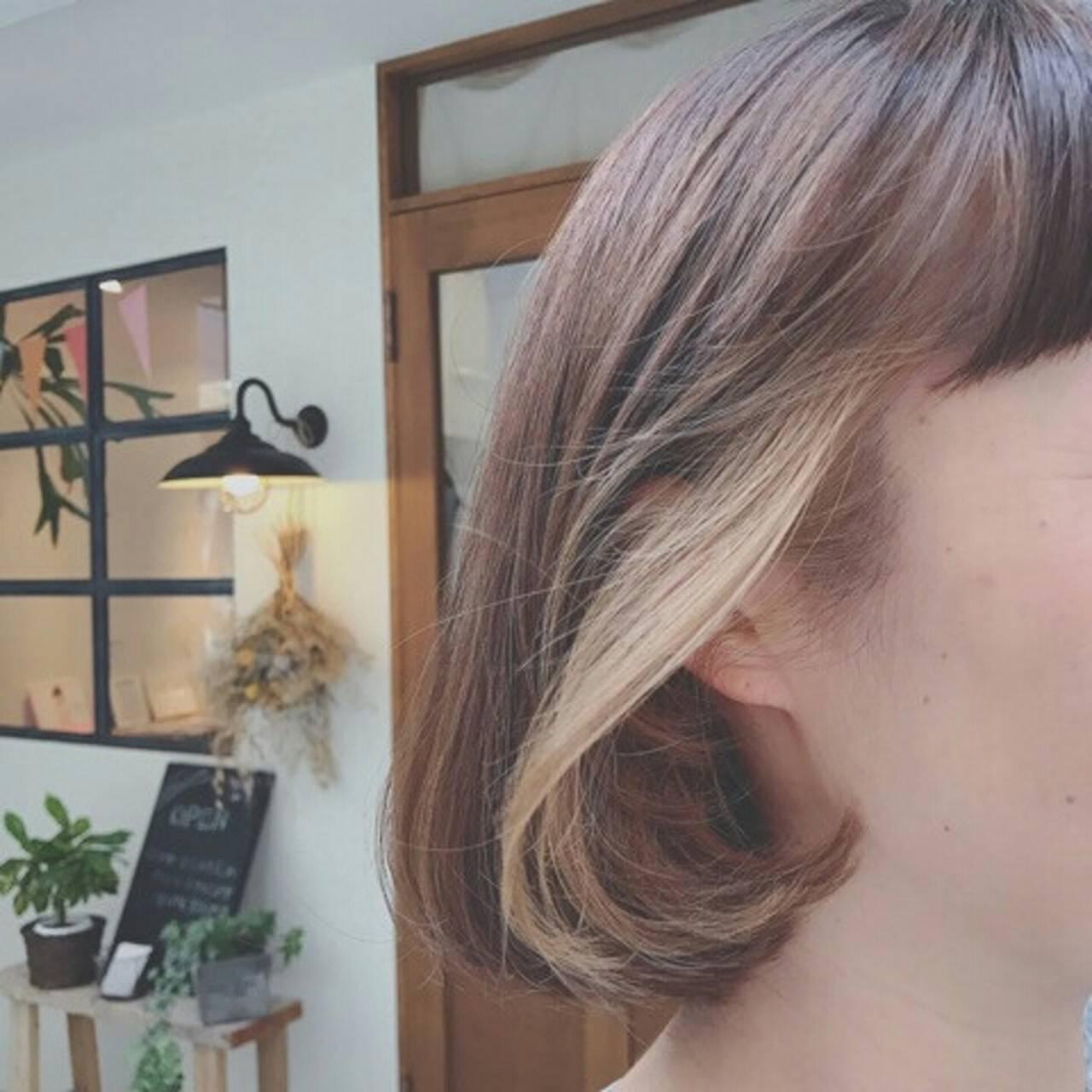 透明感 ナチュラル インナーカラー ボブヘアスタイルや髪型の写真・画像
